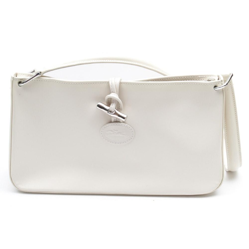 Longchamp White Leather Shoulder Bag