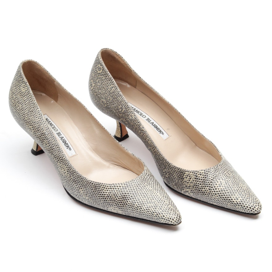 8b90db7c7a Manolo Blahnik Lizard Leather Pumps | EBTH