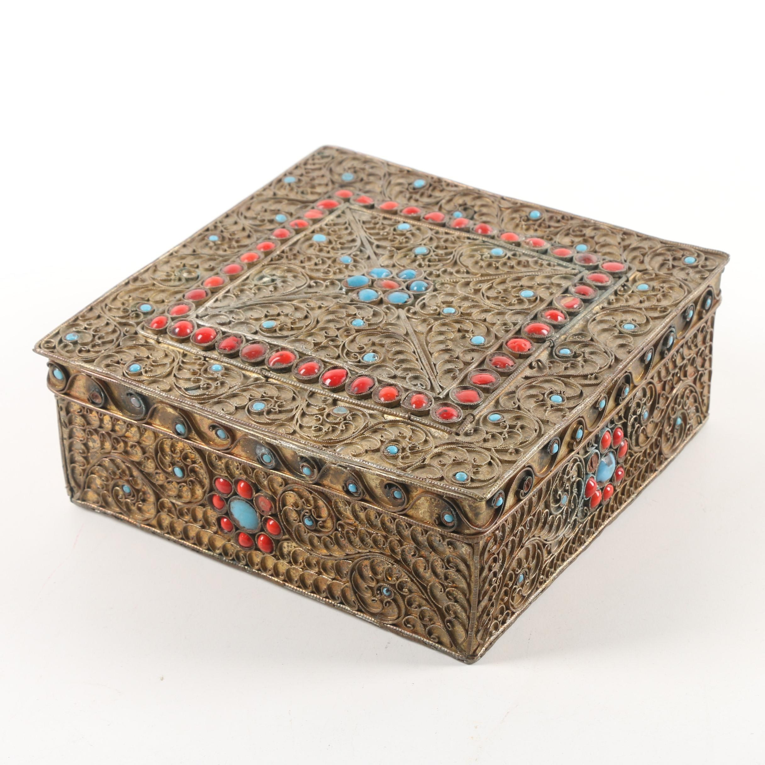 Vintage Nepalese Brass Lidded Box with Cabochon Embellishments