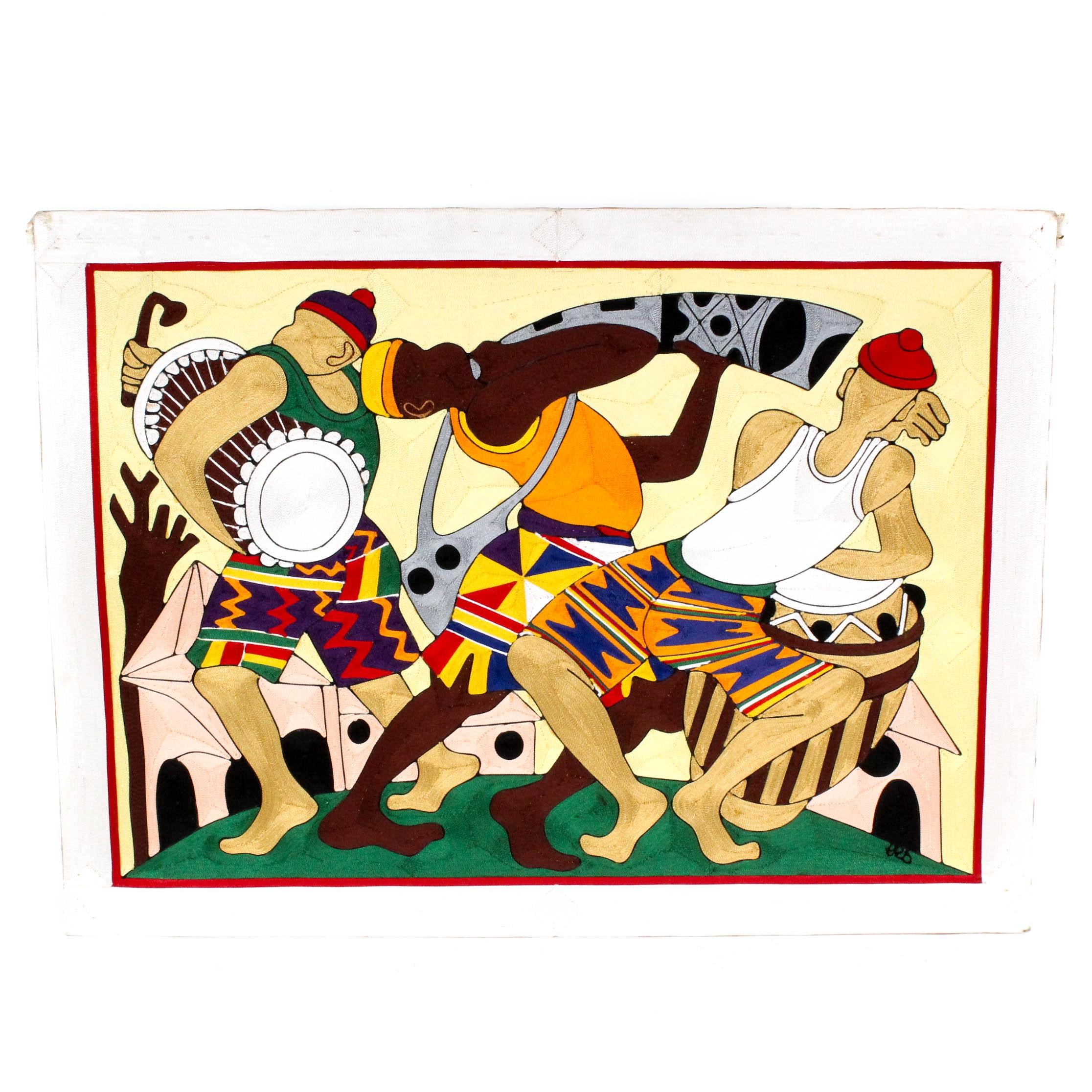 Signed String Collage Folk Artwork