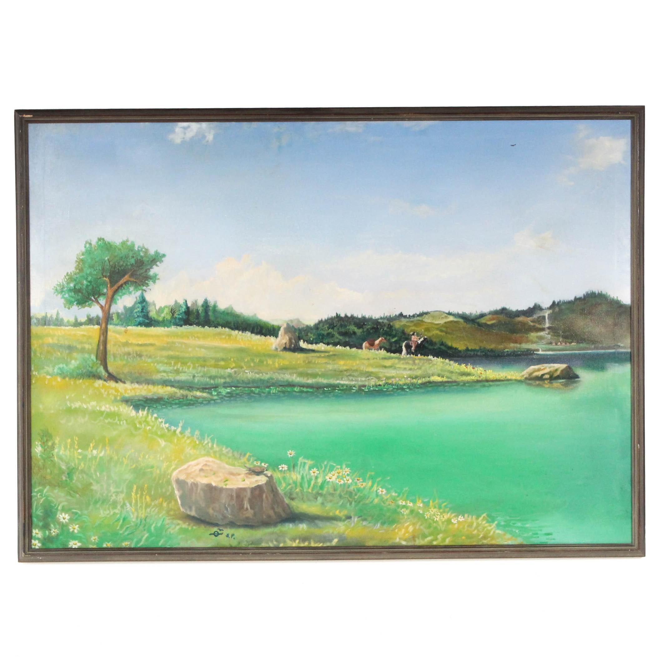 Signed Acrylic Landscape Painting