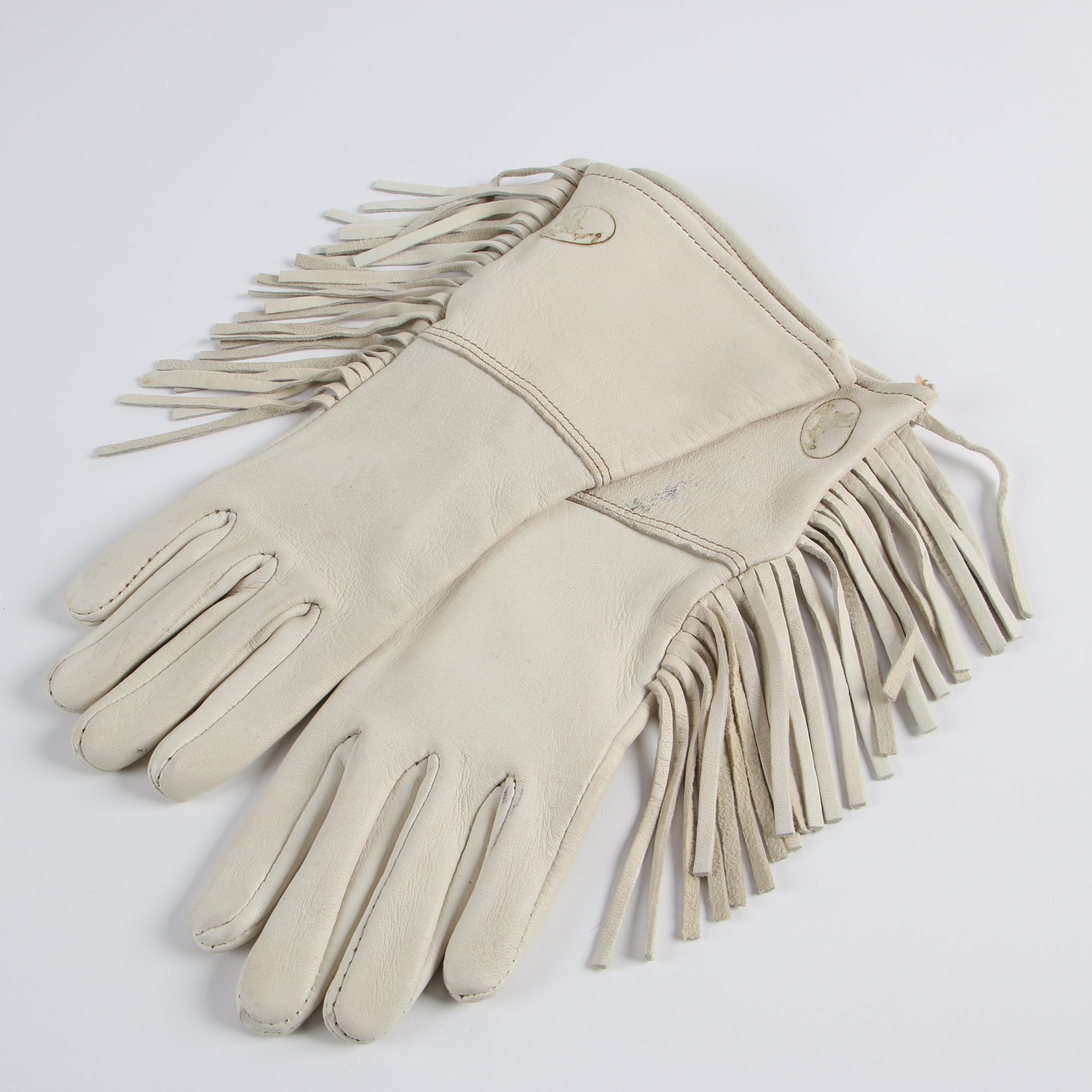 Women's Cattle Kate Off-White Leather Riding Gloves with Fringe Trim
