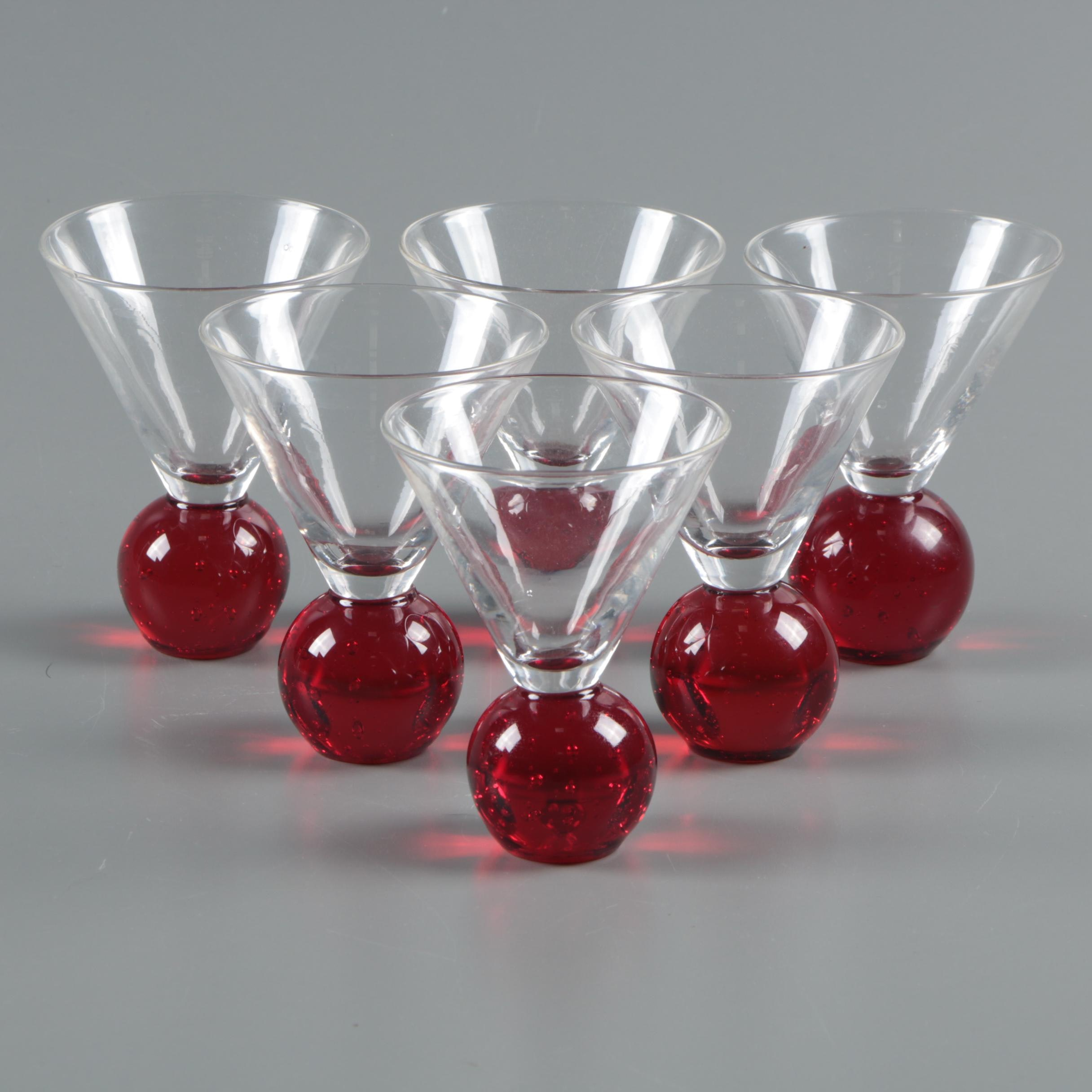 Blown Glass Cordials with Ruby Bases