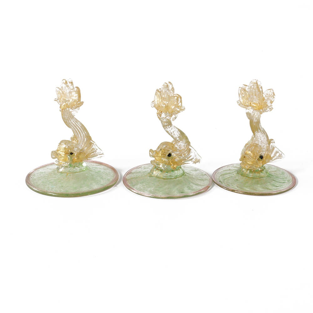 Three Venetian Glass Dolphin Place Card Holders