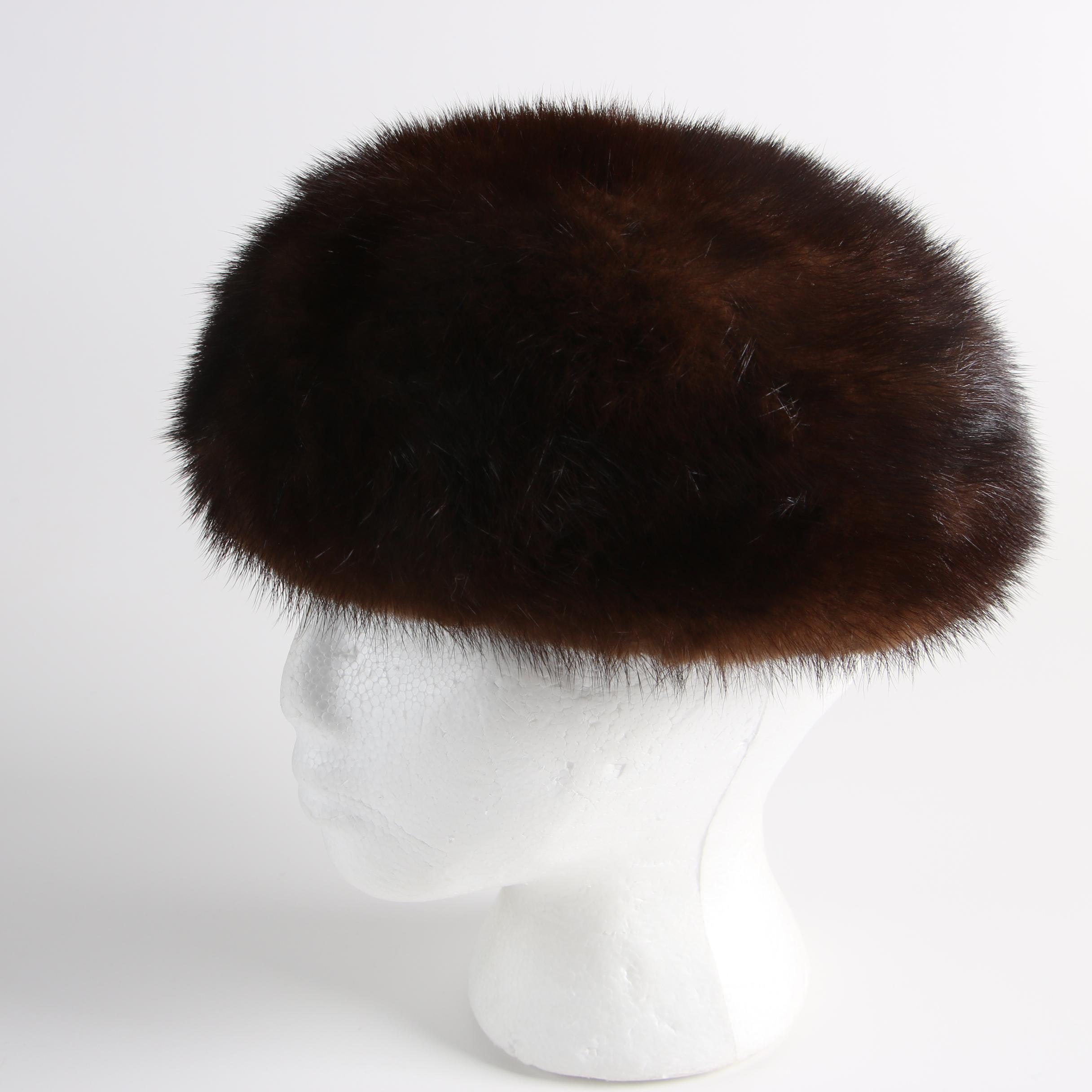 Vintage Miss Alice Brown Mink Fur Hat