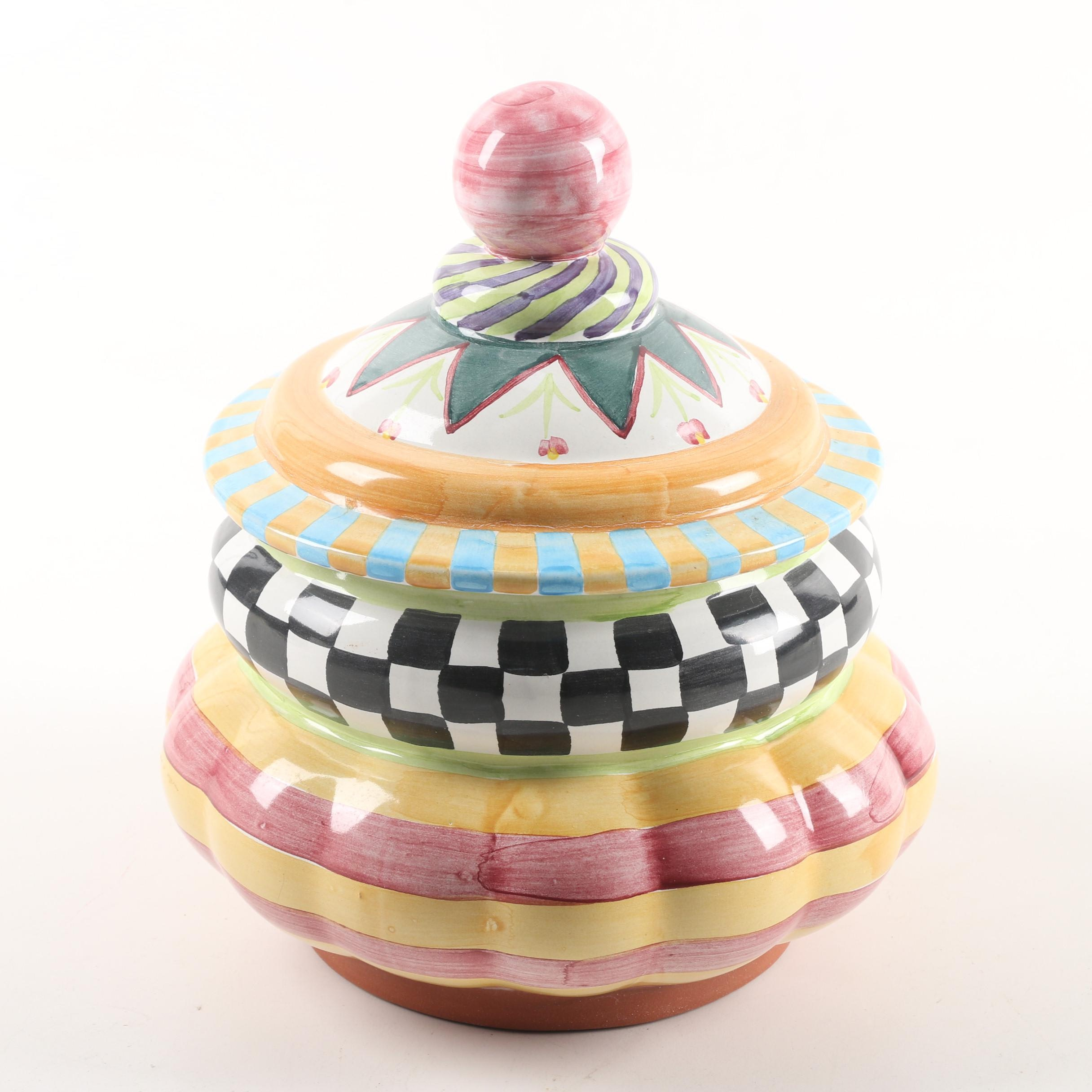 "MacKenzie-Childs ""Odd Fellows"" Small Earthenware Canister"
