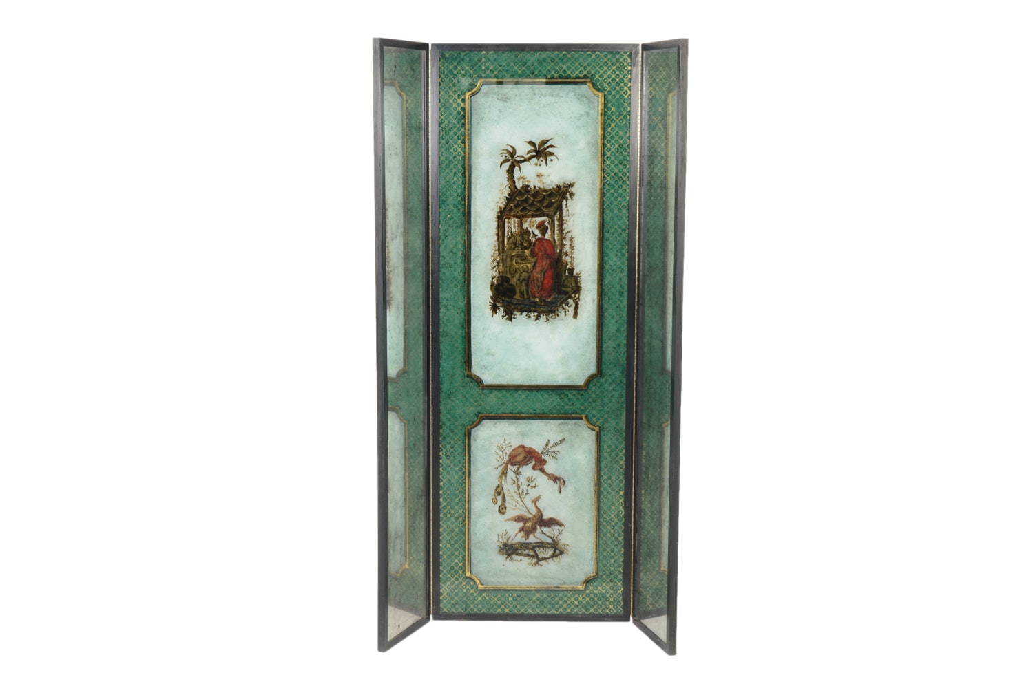 English Chinoiserie Reverse Painted Mirrored Floor Screen
