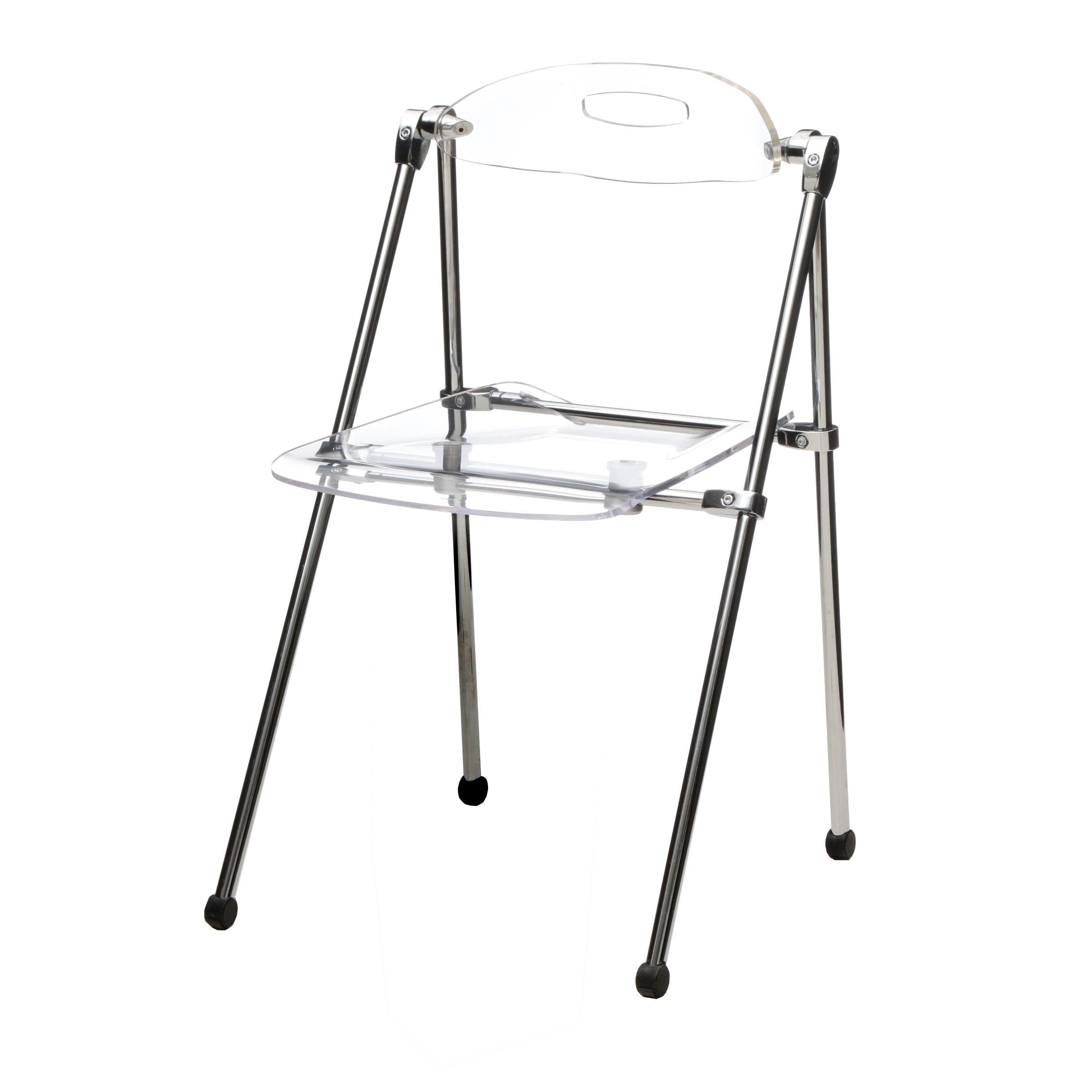 Acrylic and Chrome Folding Chair