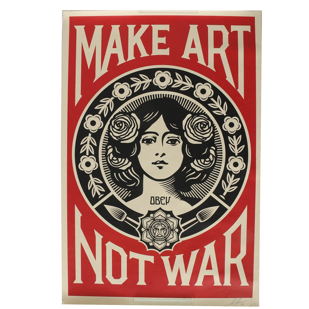 "Shepard Fairey Signed ""Make Art Not War"" Offset Print"