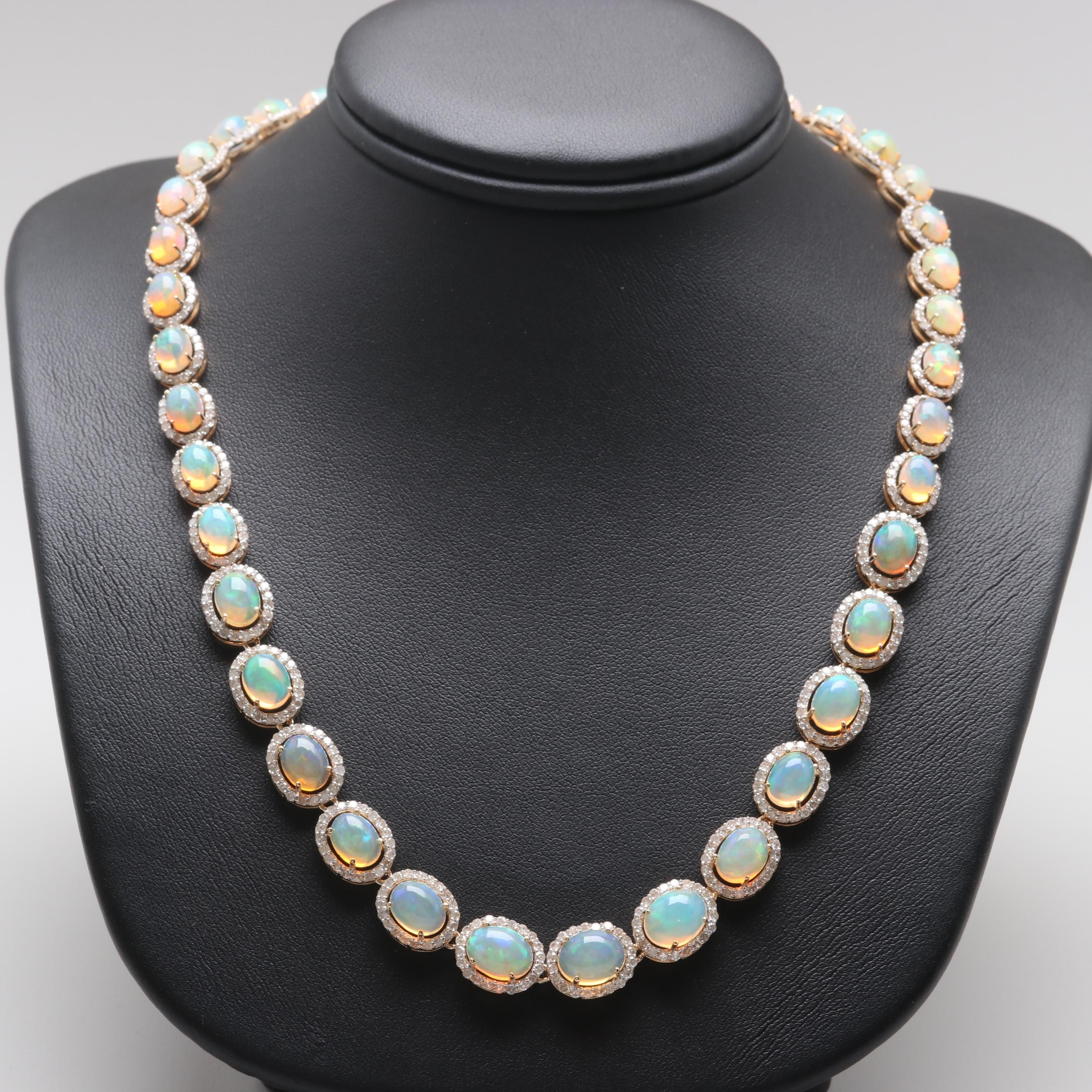 14K Yellow Gold Jelly Opal and 7.26 CTW Diamond Rivière Necklace