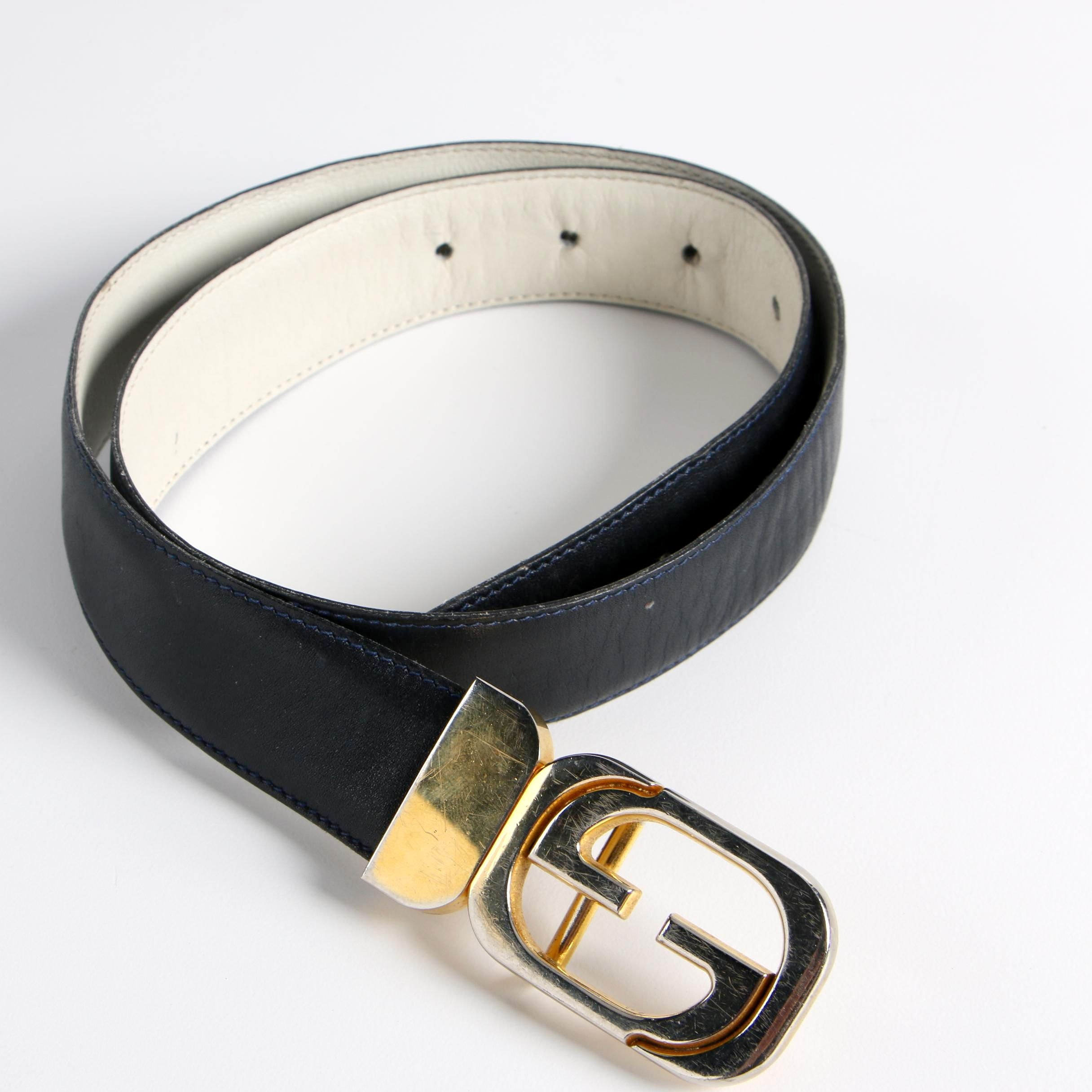 Gucci Navy Leather Belt with Gold Tone Buckle