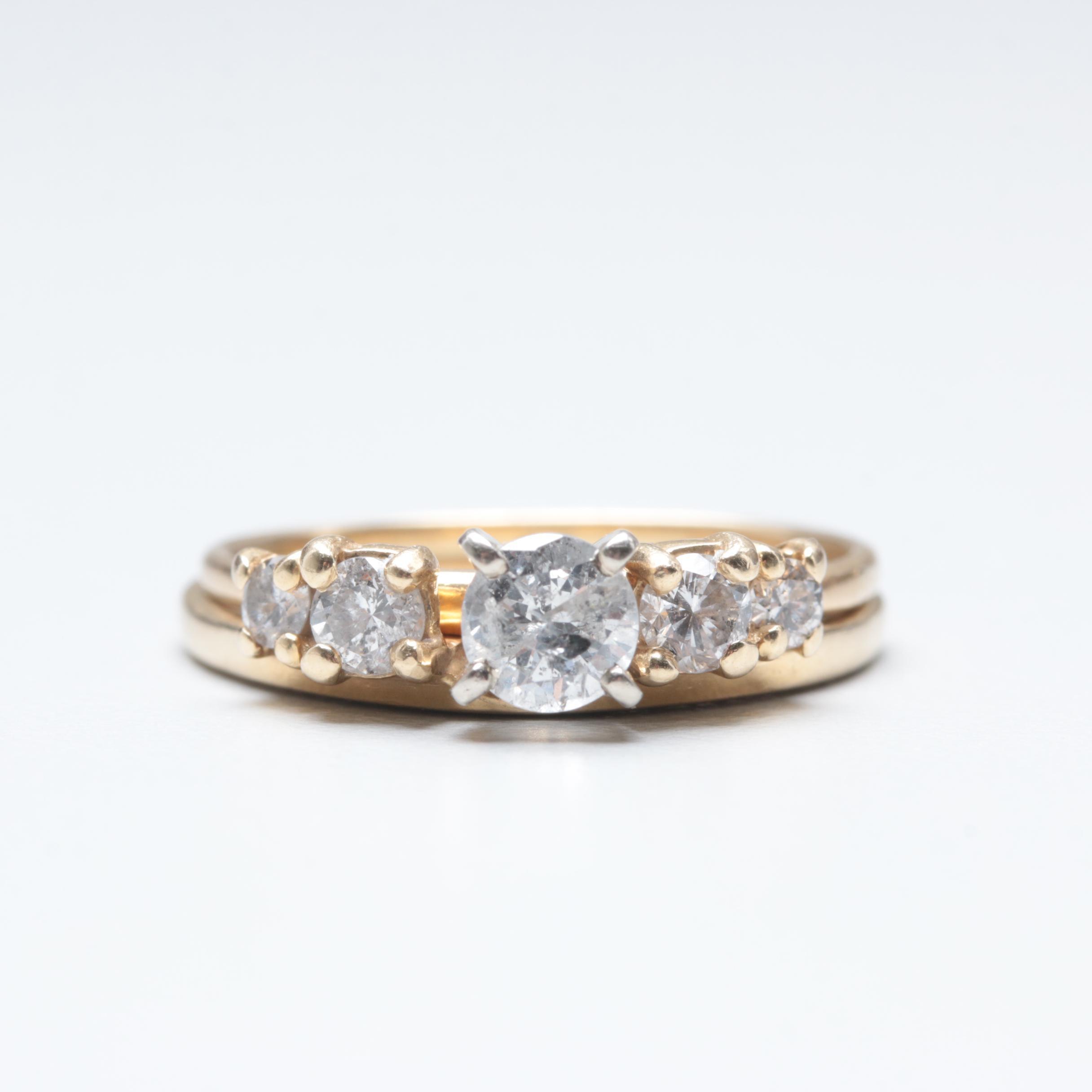 14K Yellow Gold Diamond Wedding Ring Set