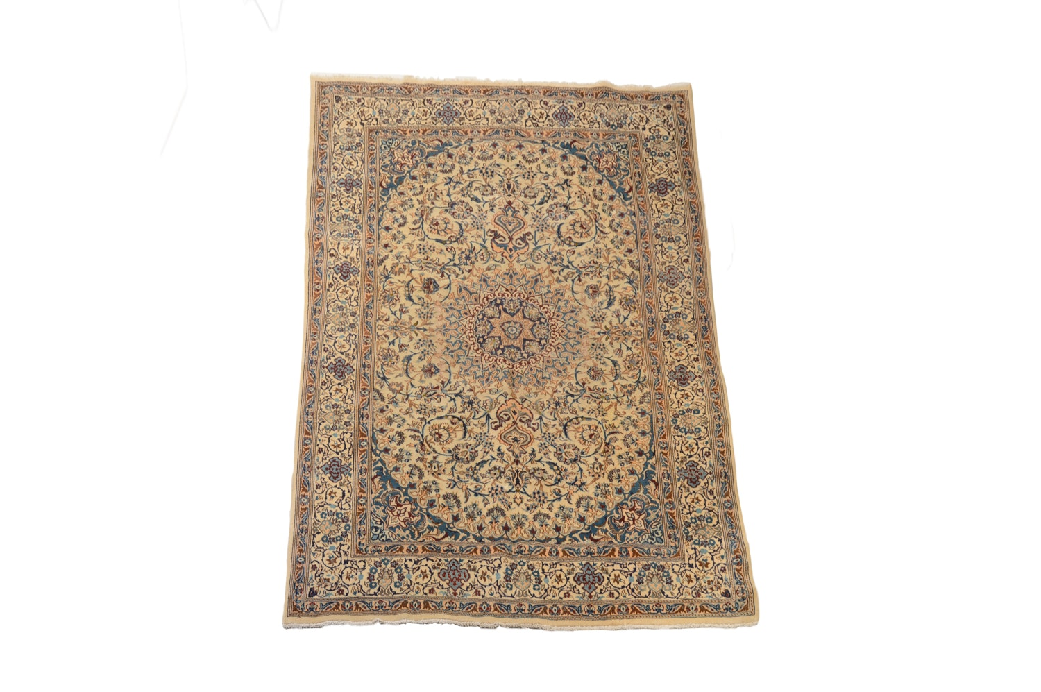 Vintage Hand-Knotted Persian Nain Wool and Part Silk Area Rug