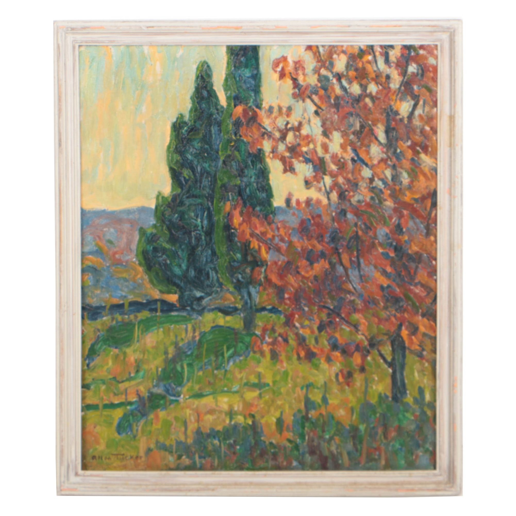 Allen Tucker Early 20th Century Autumnal Landscape Oil Painting