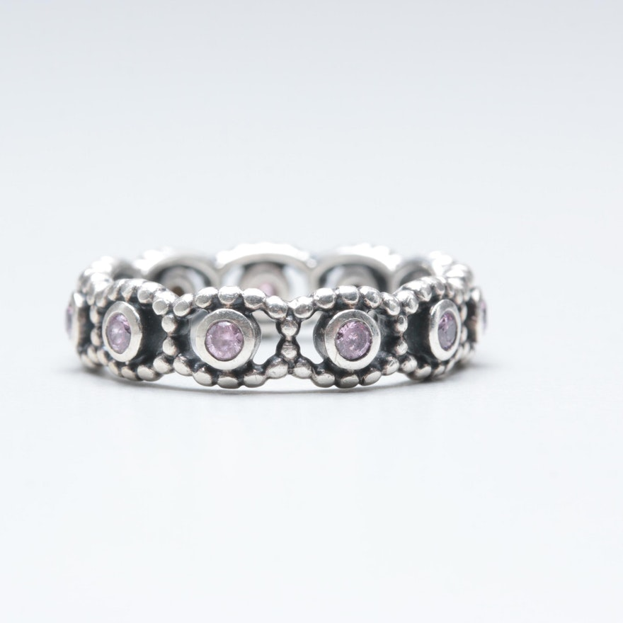 4565b2ae3 Pandora Sterling Silver Pink Cubic Zirconia Ring : EBTH