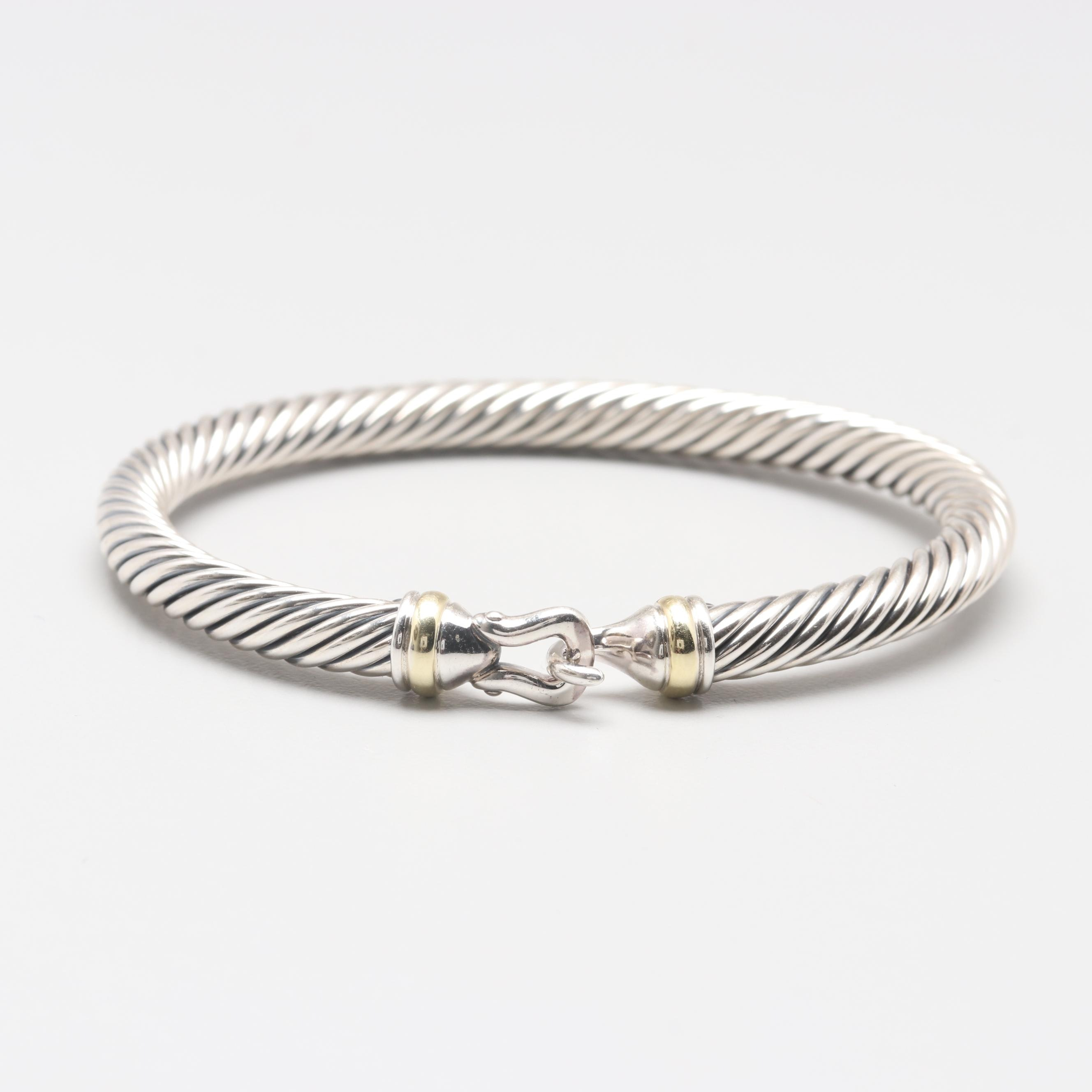 "David Yurman Sterling Silver and 18K Gold ""Cable Classic"" Buckle Bracelet"