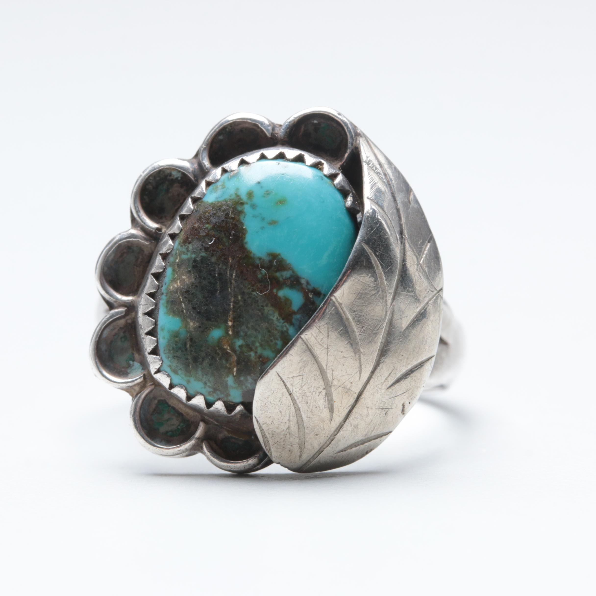 Southwestern Style Sterling Silver and Silver Tone Turquoise Ring