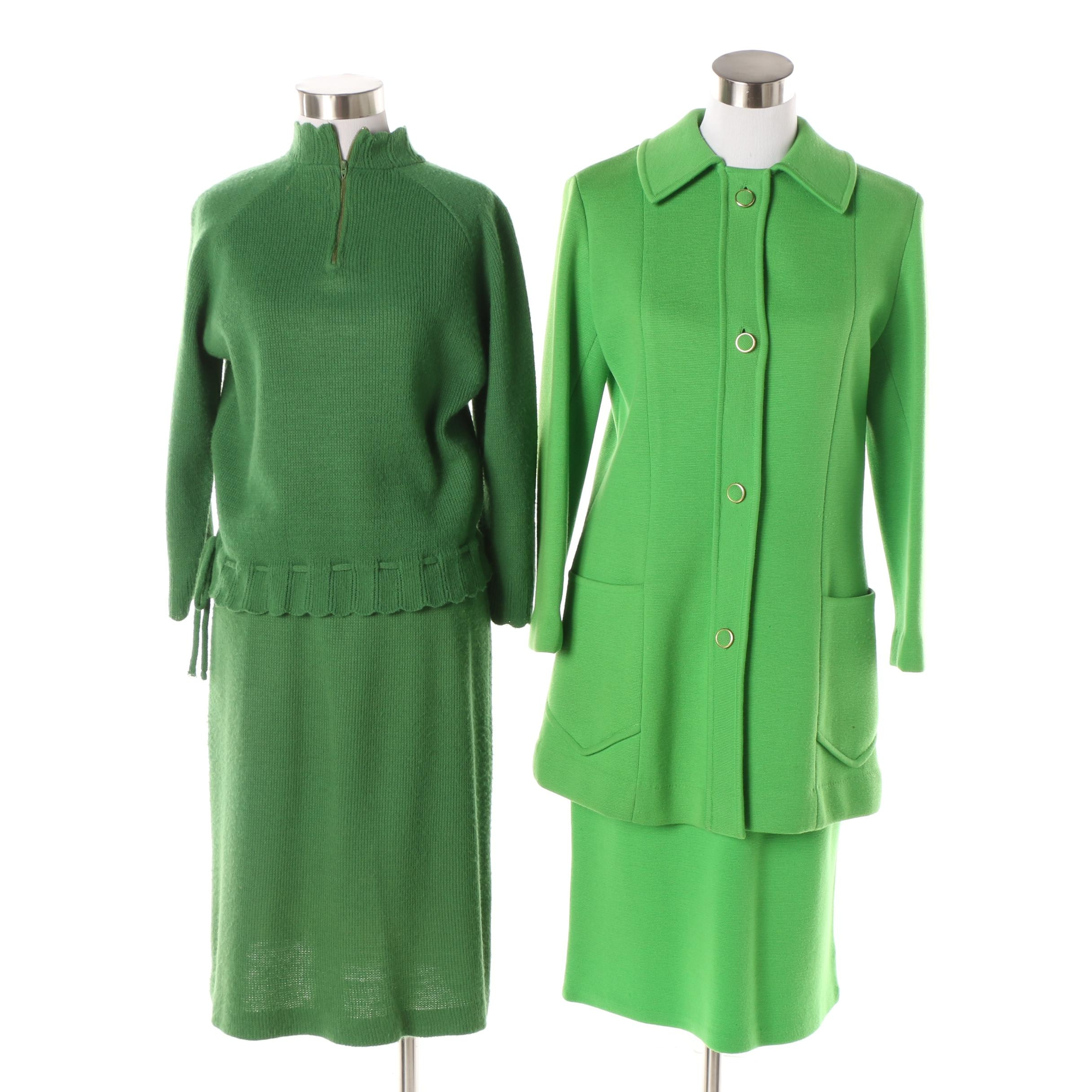 Circa 1960s Vintage Helen Whiting and Marshall Field & Company Green Skirt Sets