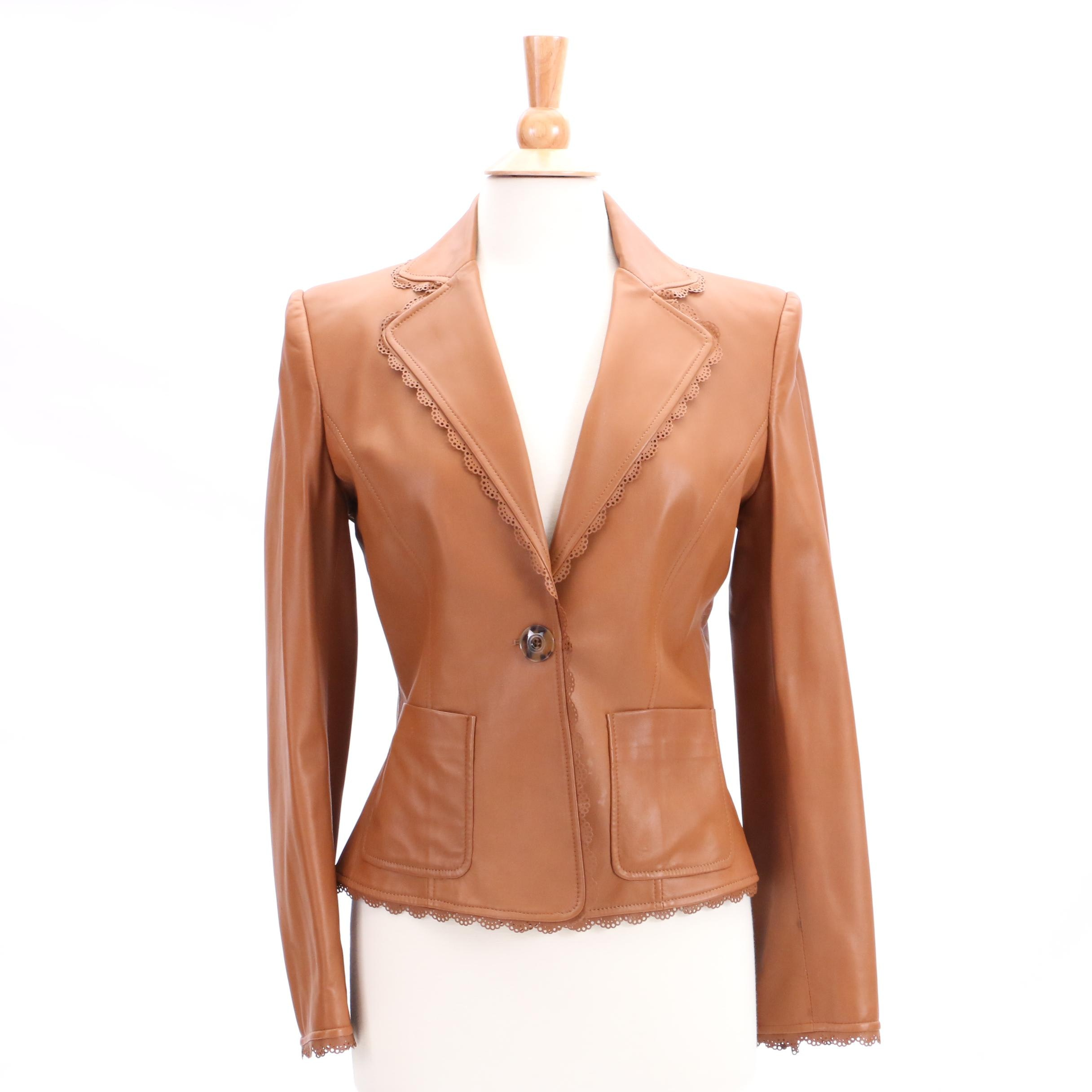 Valentino Tan Lambskin Leather Jacket
