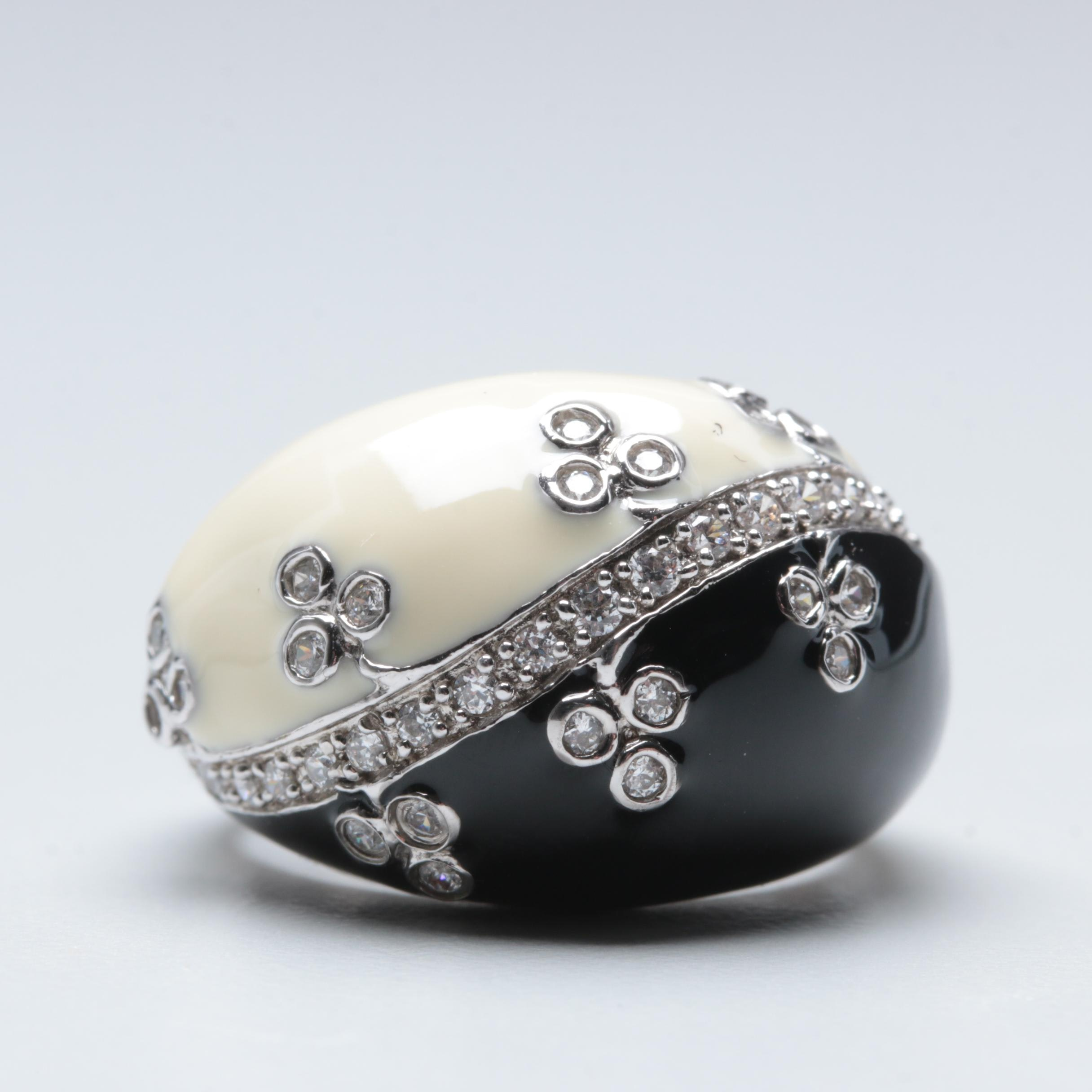 Sterling Silver Black and Cream Enamel Ring with Cubic Zirconia Accents