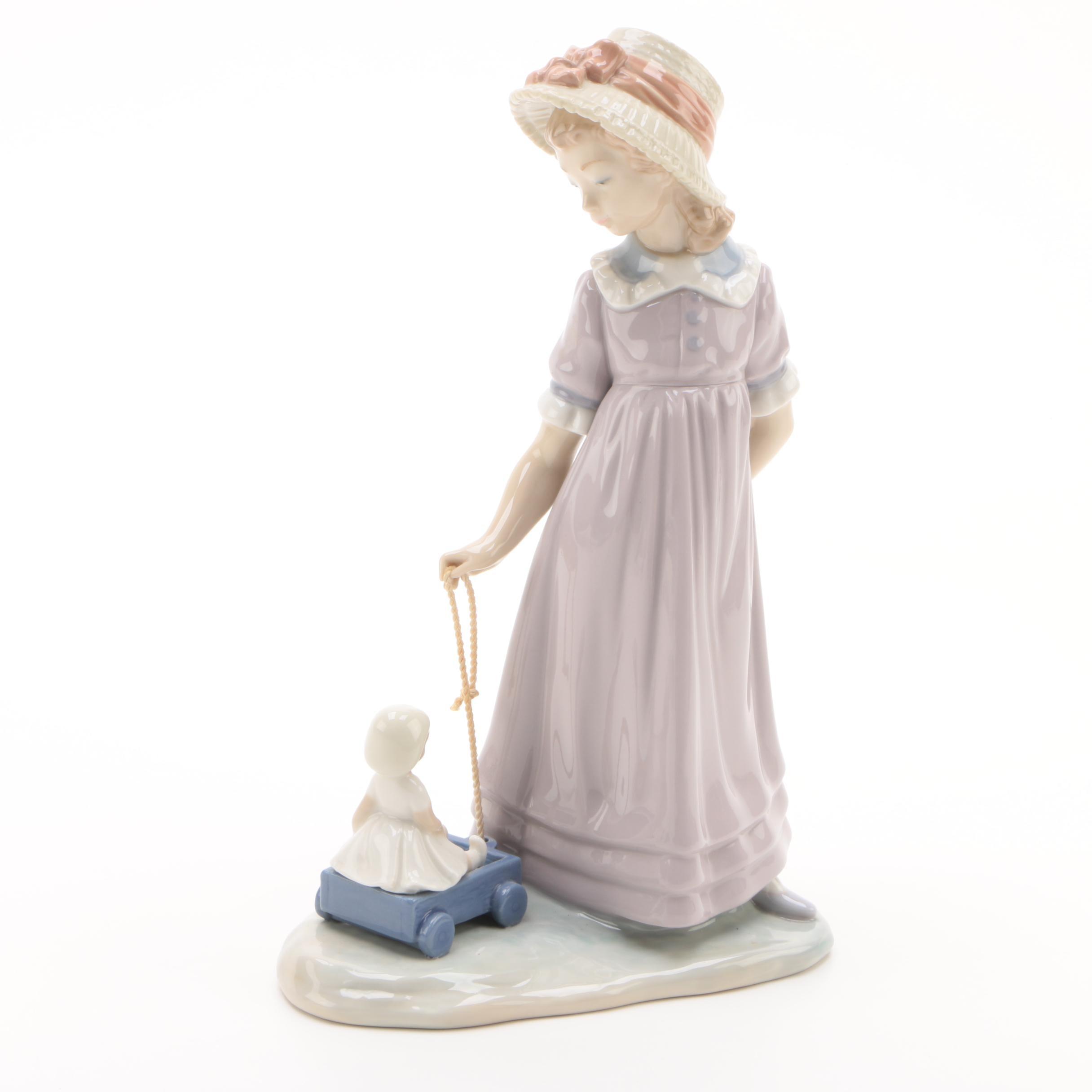 "Lladró ""Pulling Dolls Carriage"" Porcelain Figurine"
