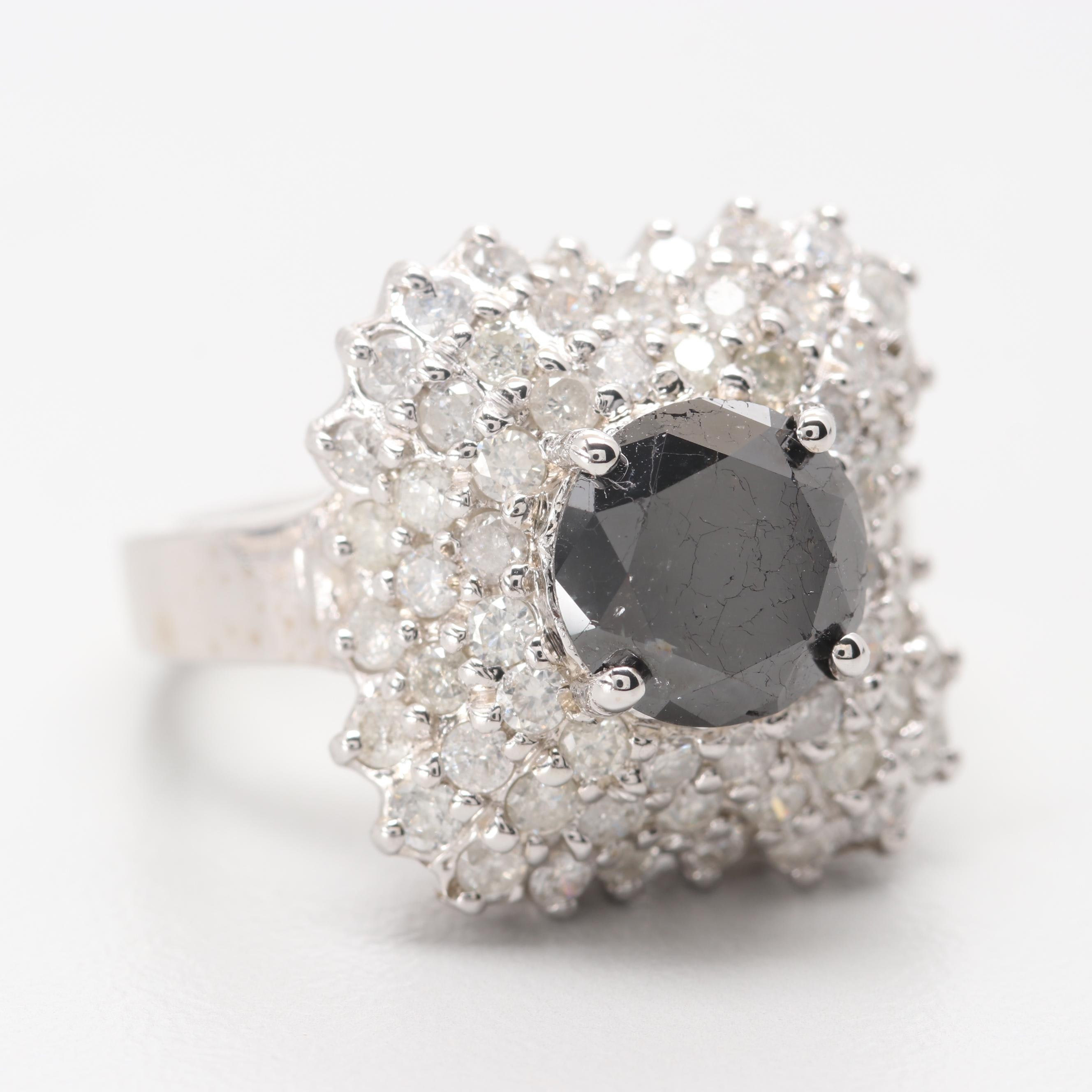 14K White Gold 2.28 CT Black Diamond Ring with 1.52 CTW Diamond Accents