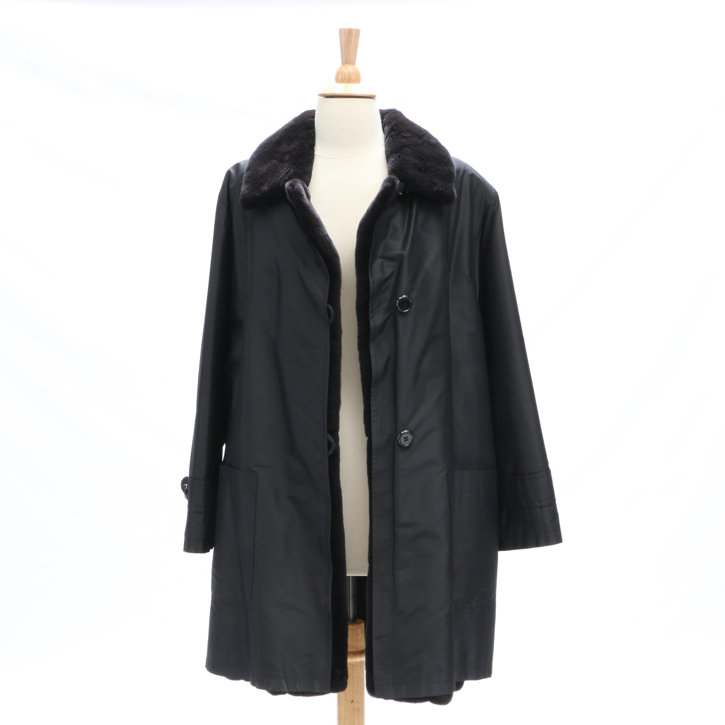 Black Jacket with Removable Sheared Beaver Lining