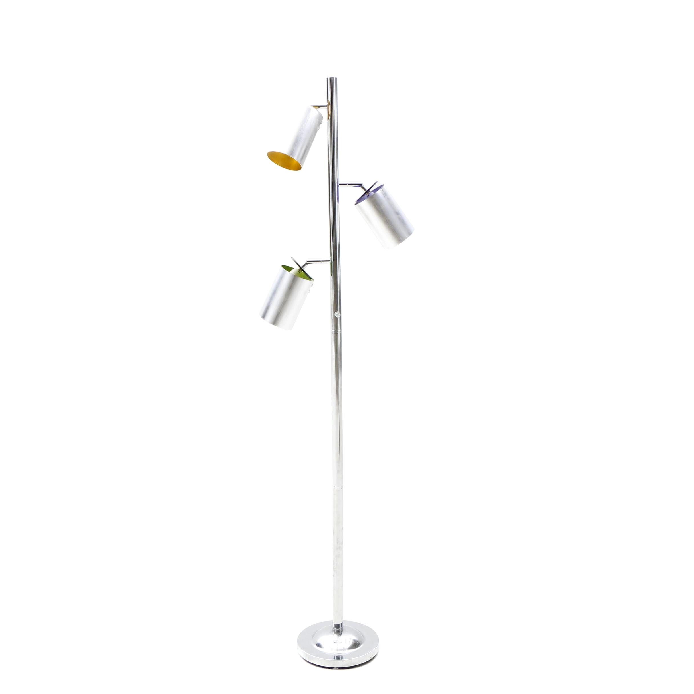 Contemporary Chrome Multi-Barrel Floor Lamp