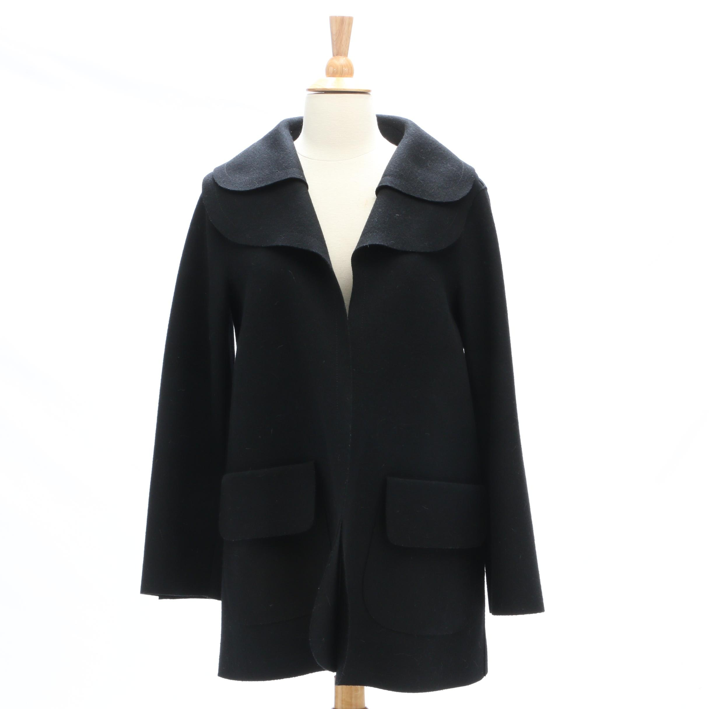 Carolina Herrera Black Wool Blend Swing Jacket
