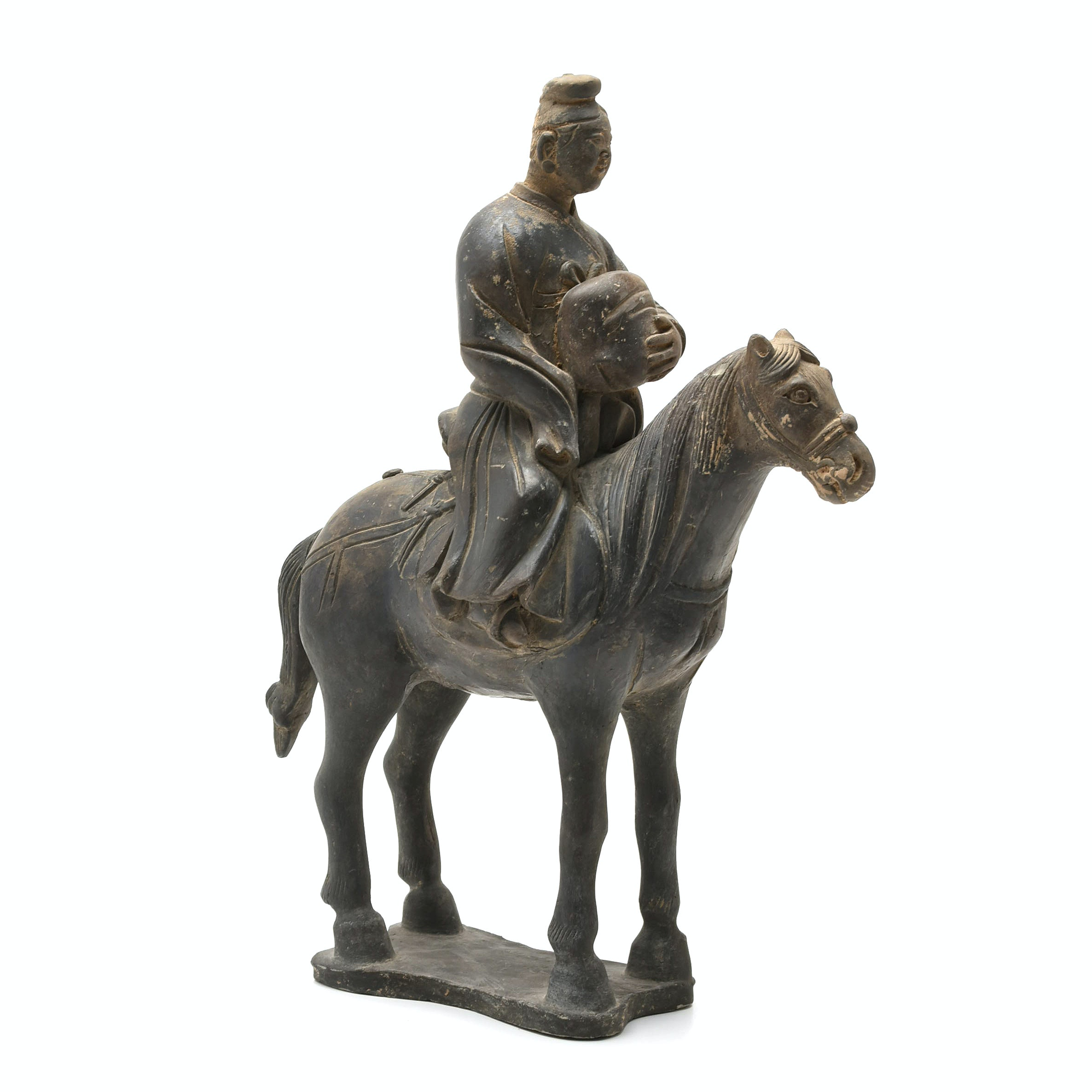 Chinese Yuan Dynasty Black Pottery Horse and Rider