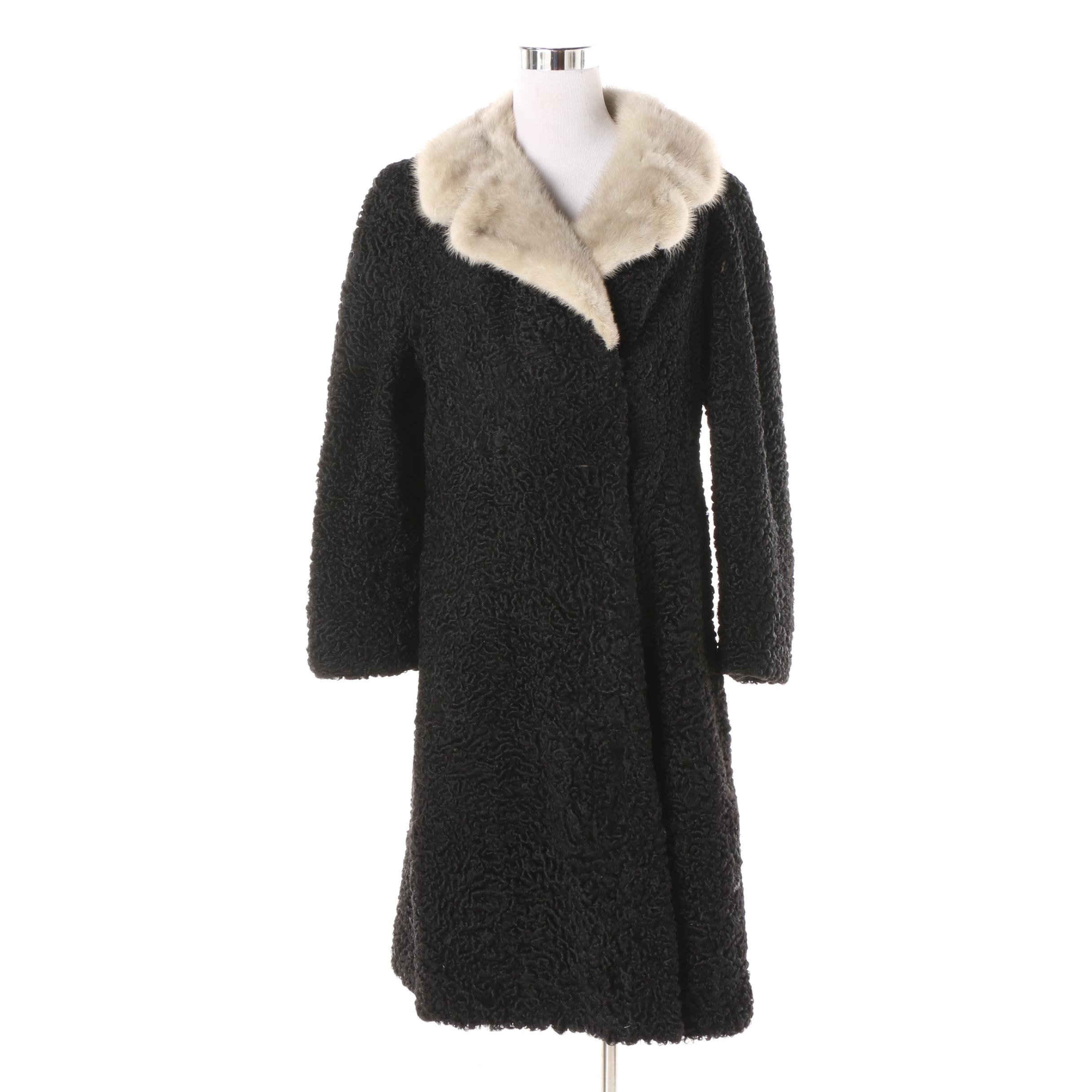 Women's Vintage Weiner's Furs Persian Lamb Princess Coat with Mink Fur Collar