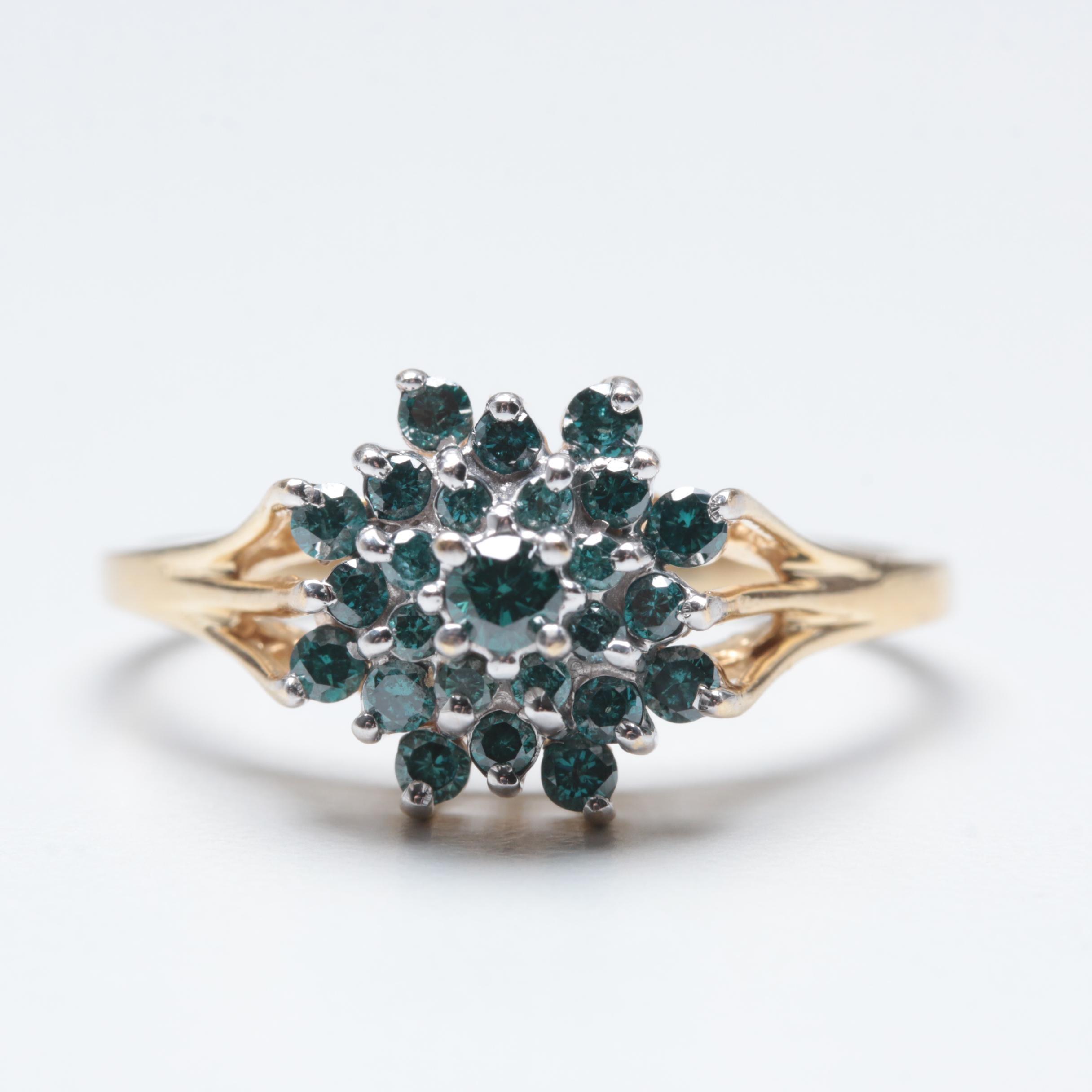 14K Yellow Gold Blue Diamond Ring