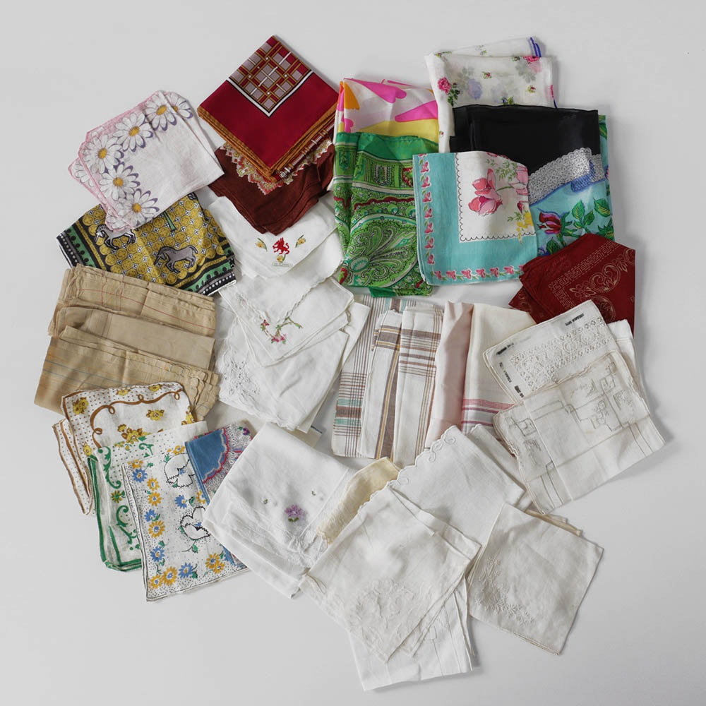 Group of Vintage Handkerchiefs, Napkins, Scarves