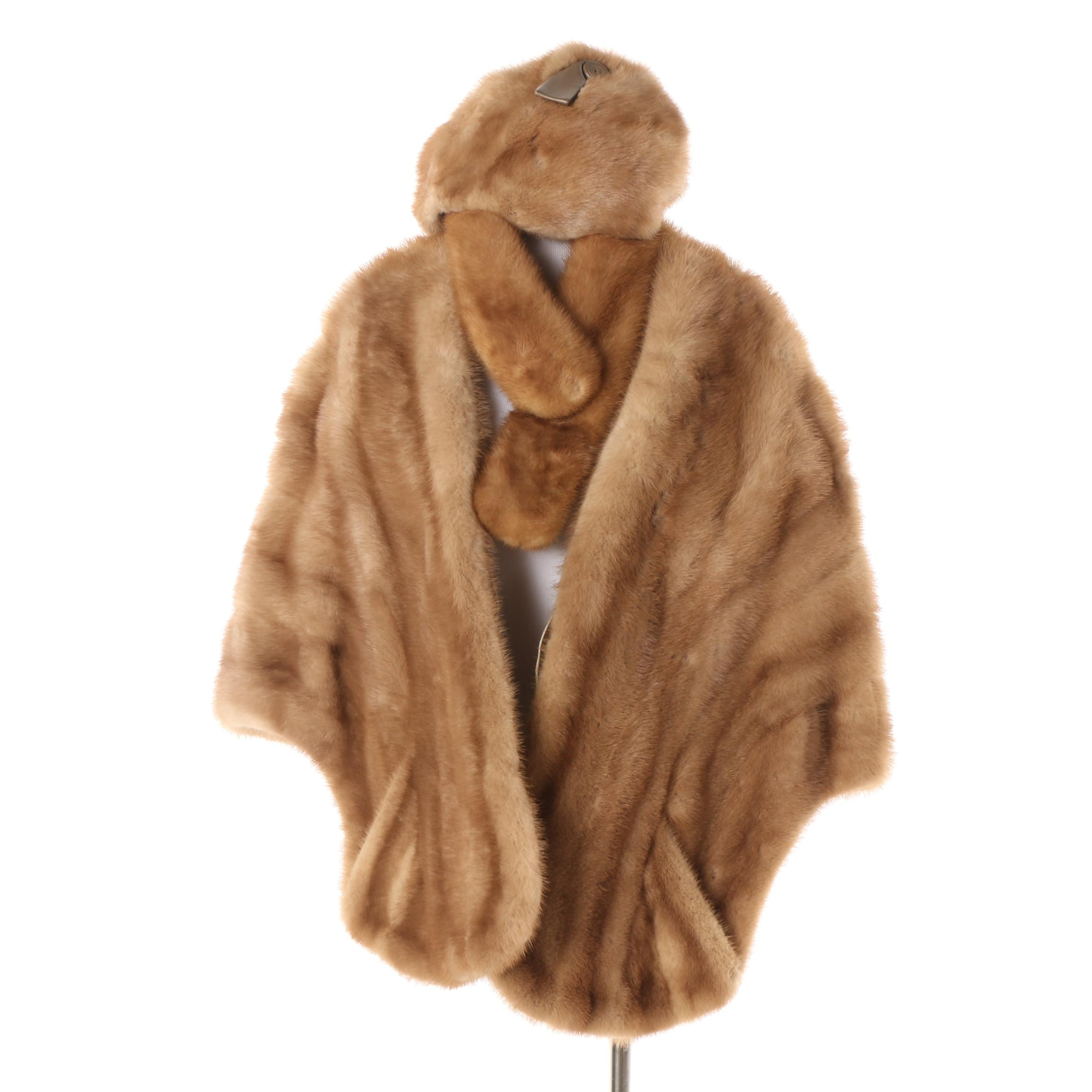 Vintage Glück's Mink Fur Stole with Mink Fur Cap and Collar