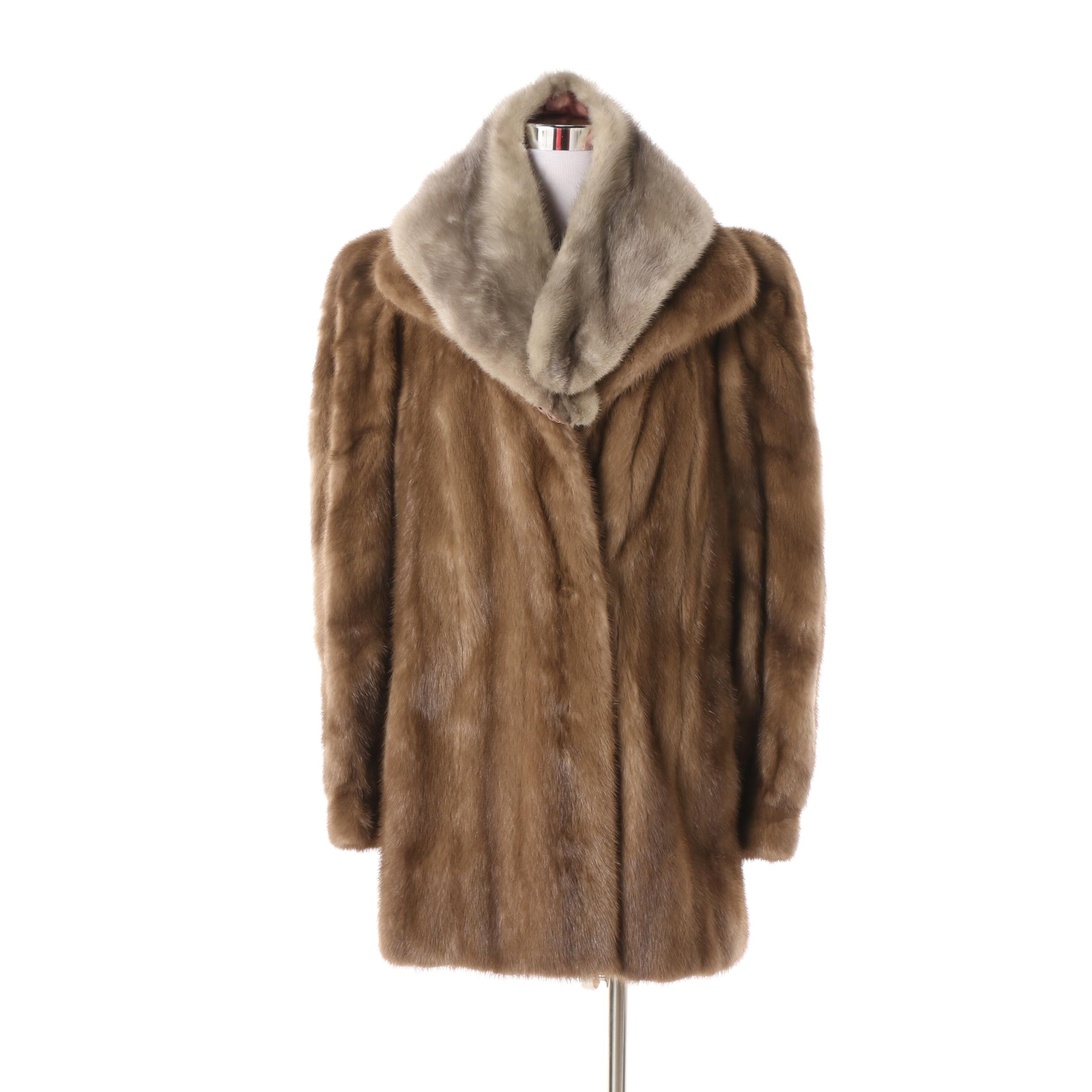 Vintage Goldwaters Mink Fur Coat with Mink Fur Collar