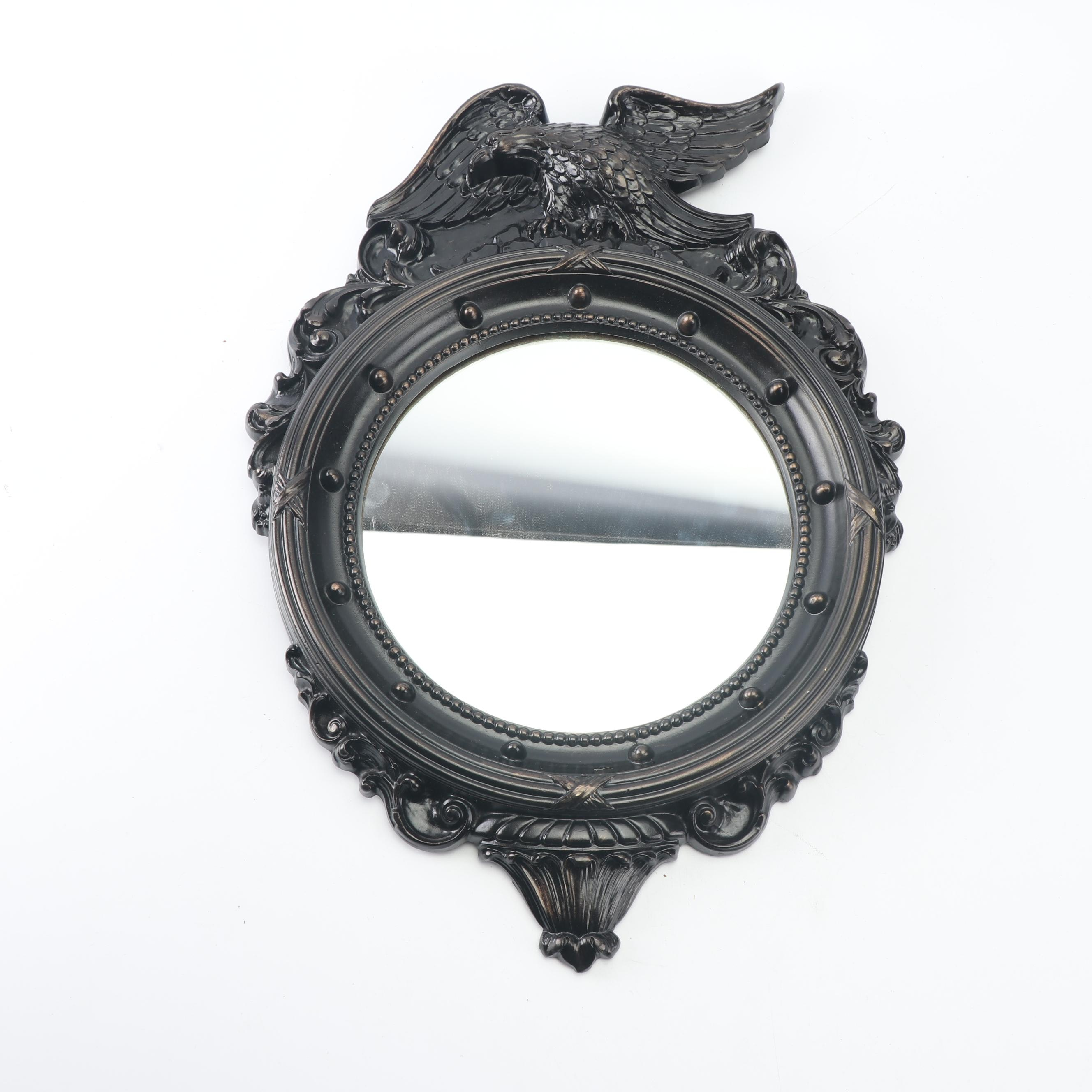 Vintage Federal Style Round Wall Mirror with Eagle Crest