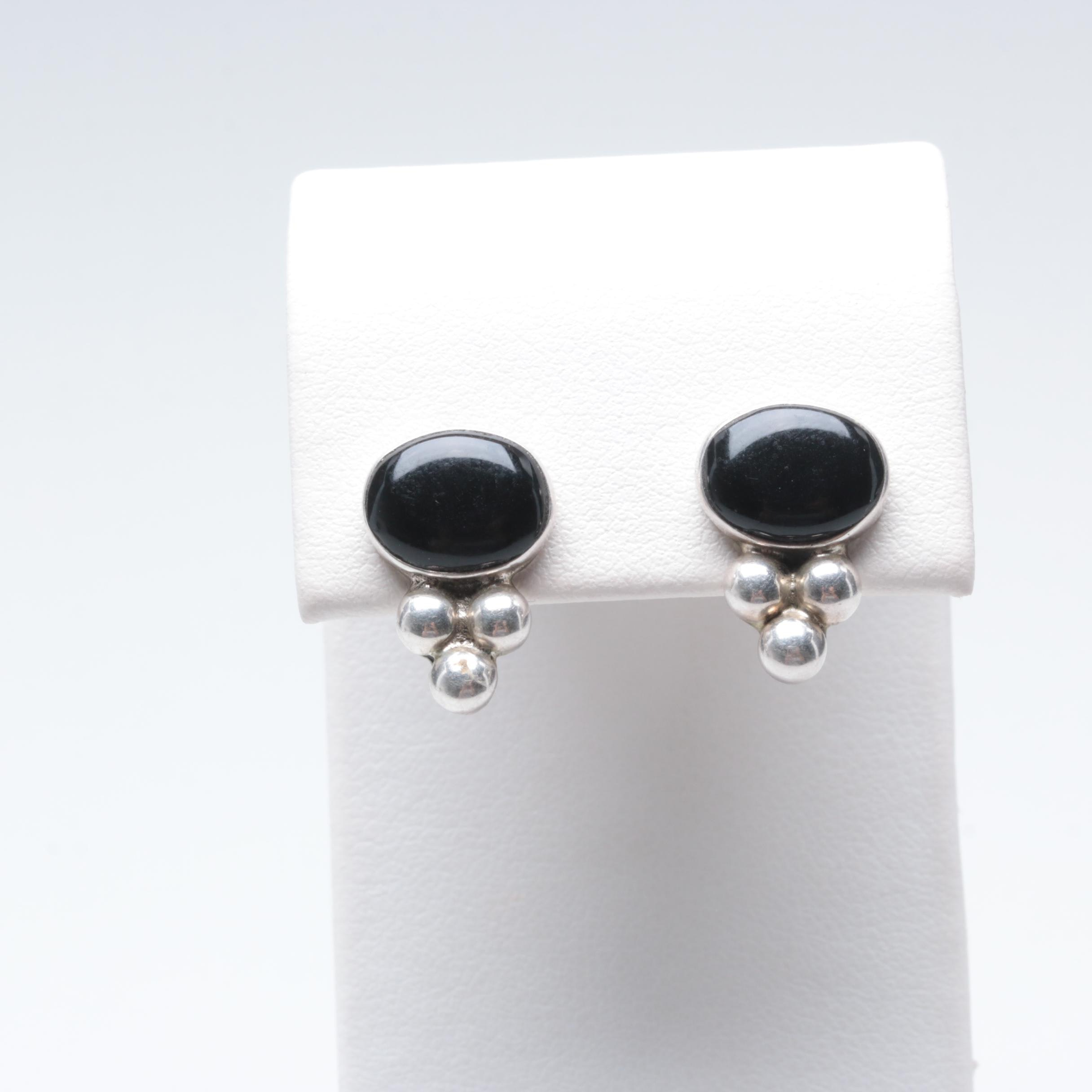 Mexican Sterling Silver Black Onyx Earrings