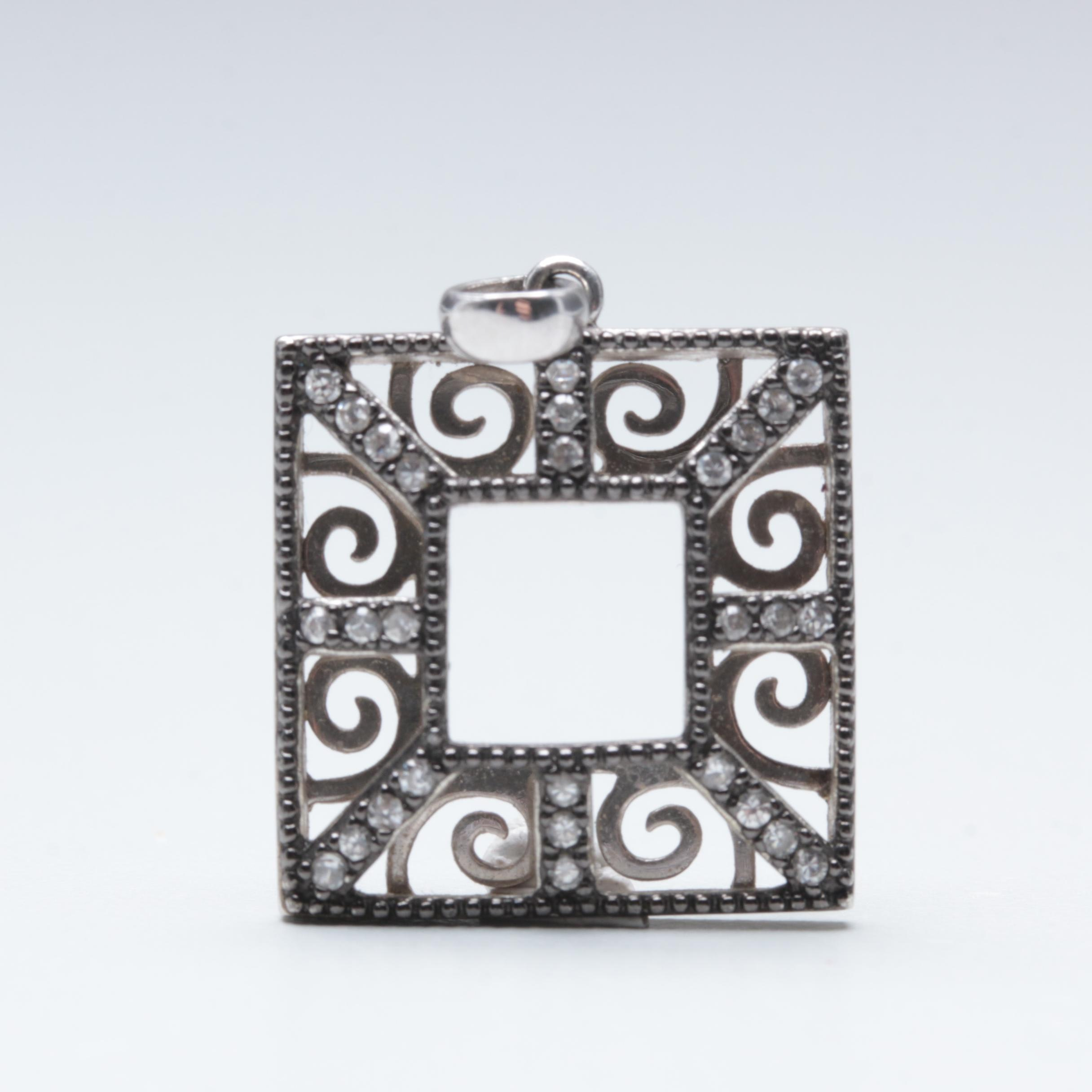 Sterling Silver Cubic Zirconia Square Pendant