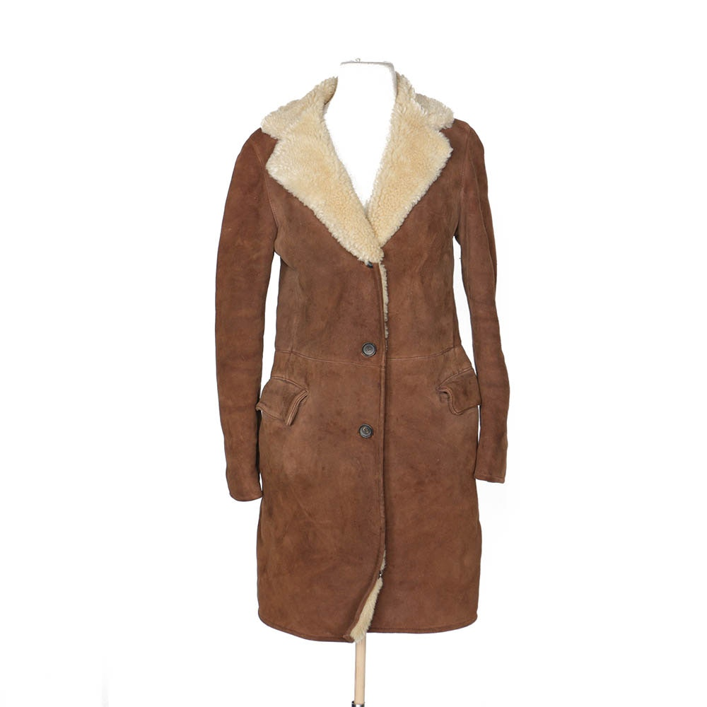 Women's Jil Sander Brown Shearling Coat