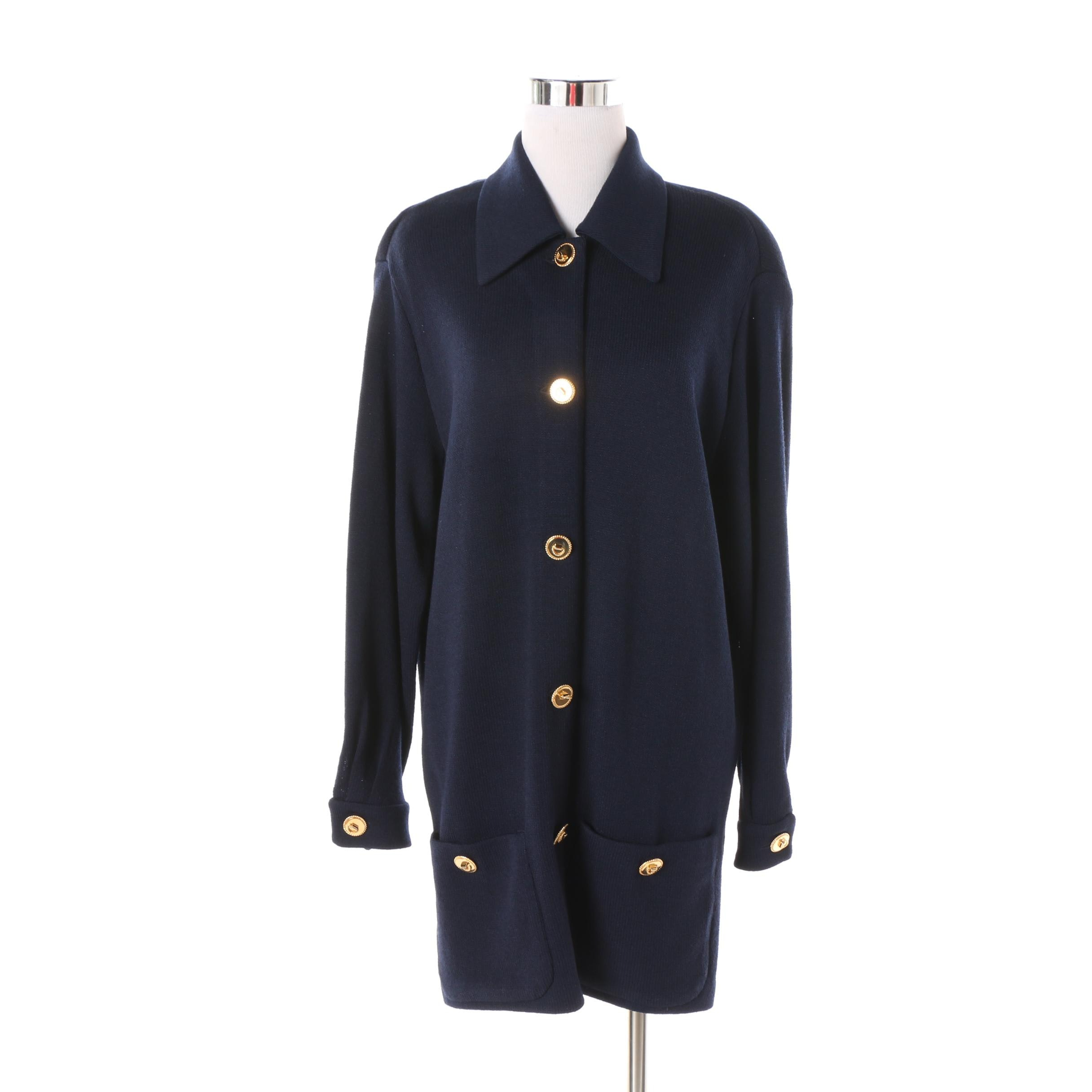 Women's St. John Collection Navy Blue Knit Jacket