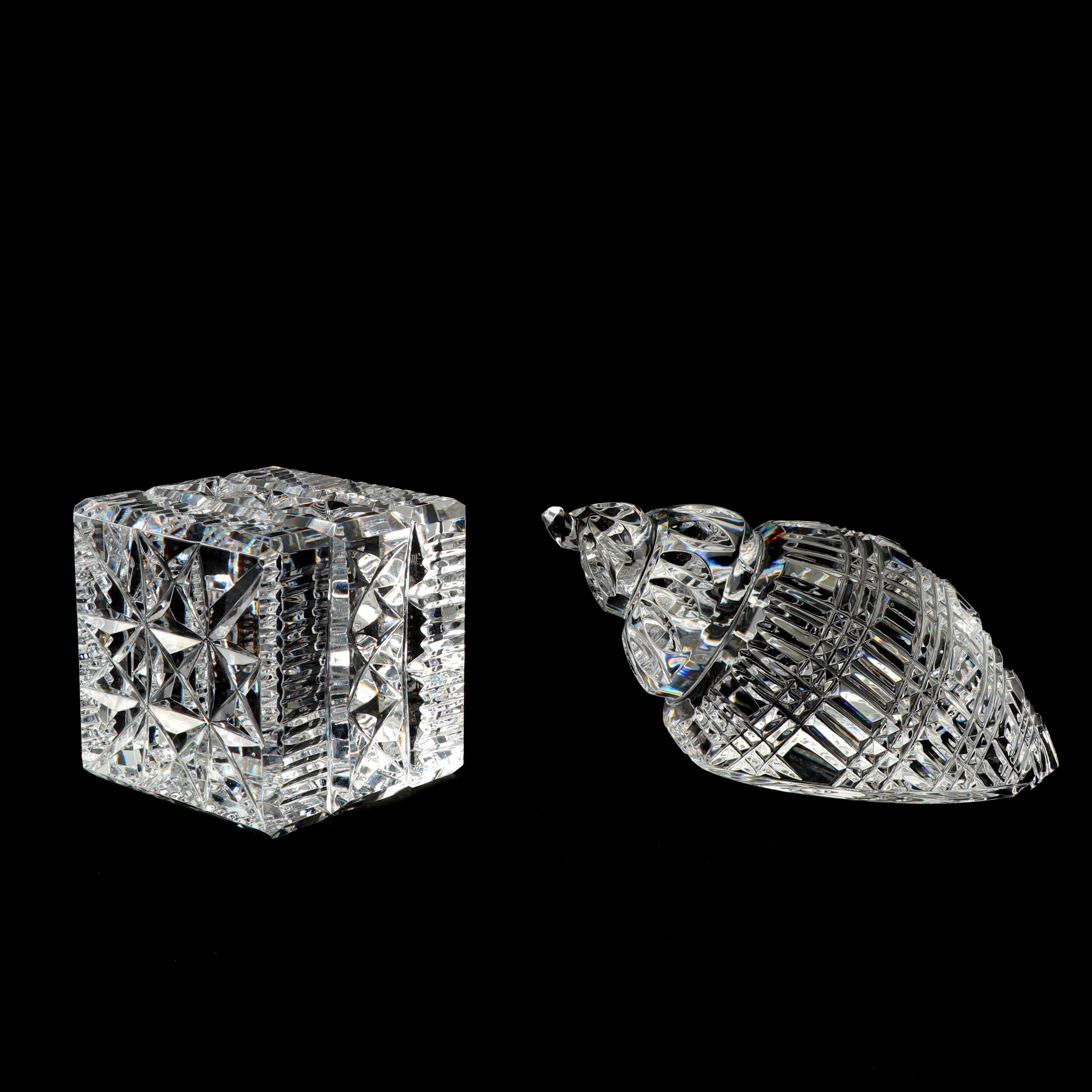 Waterford Crystal Block and Conch Shell Paperweights