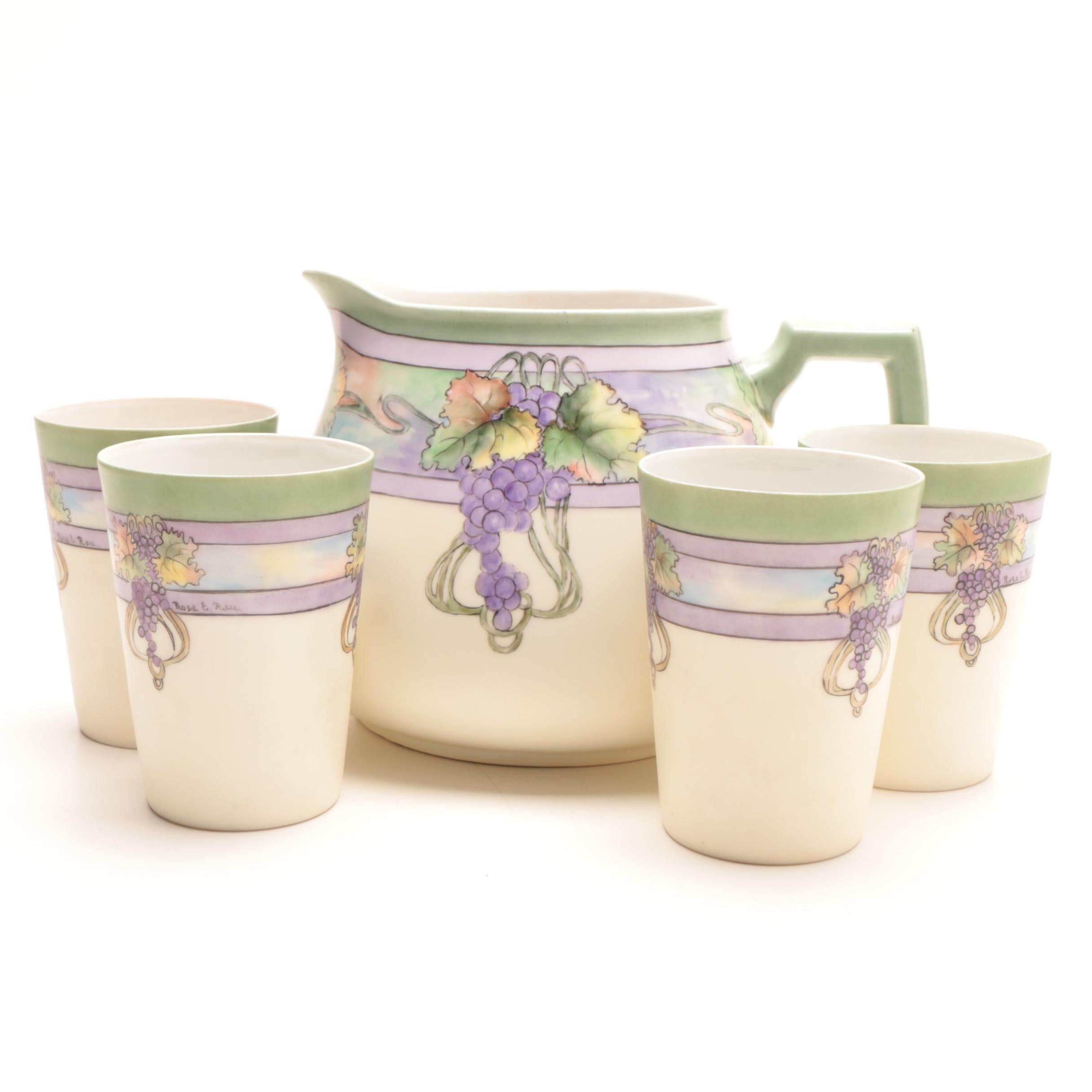 Z.S. & Co Bavaria Hand-Painted Hobbyist Porcelain Lemonade Pitcher and Cups