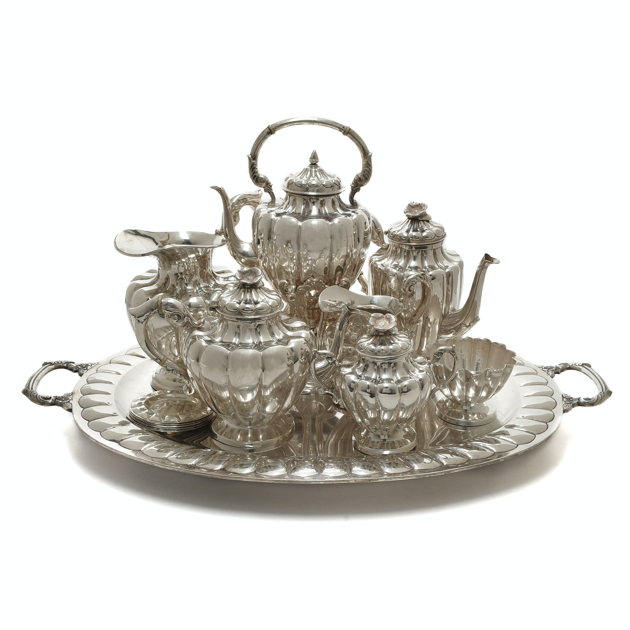 Vintage L. Maciel Mexican Sterling Silver Tea Service and Tray