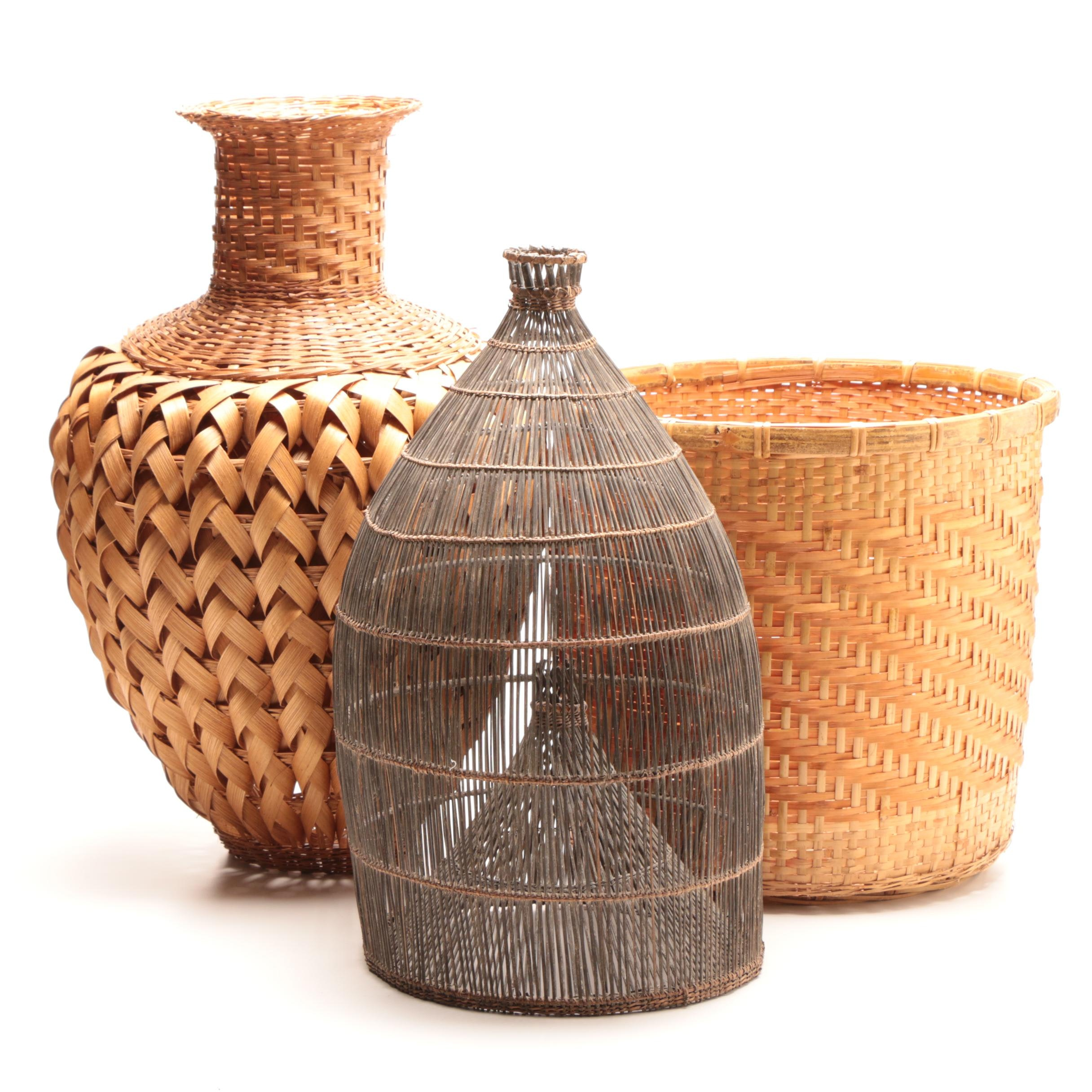 Grouping of Hand Woven Wicker Baskets Including Fishing Trap Style Basket