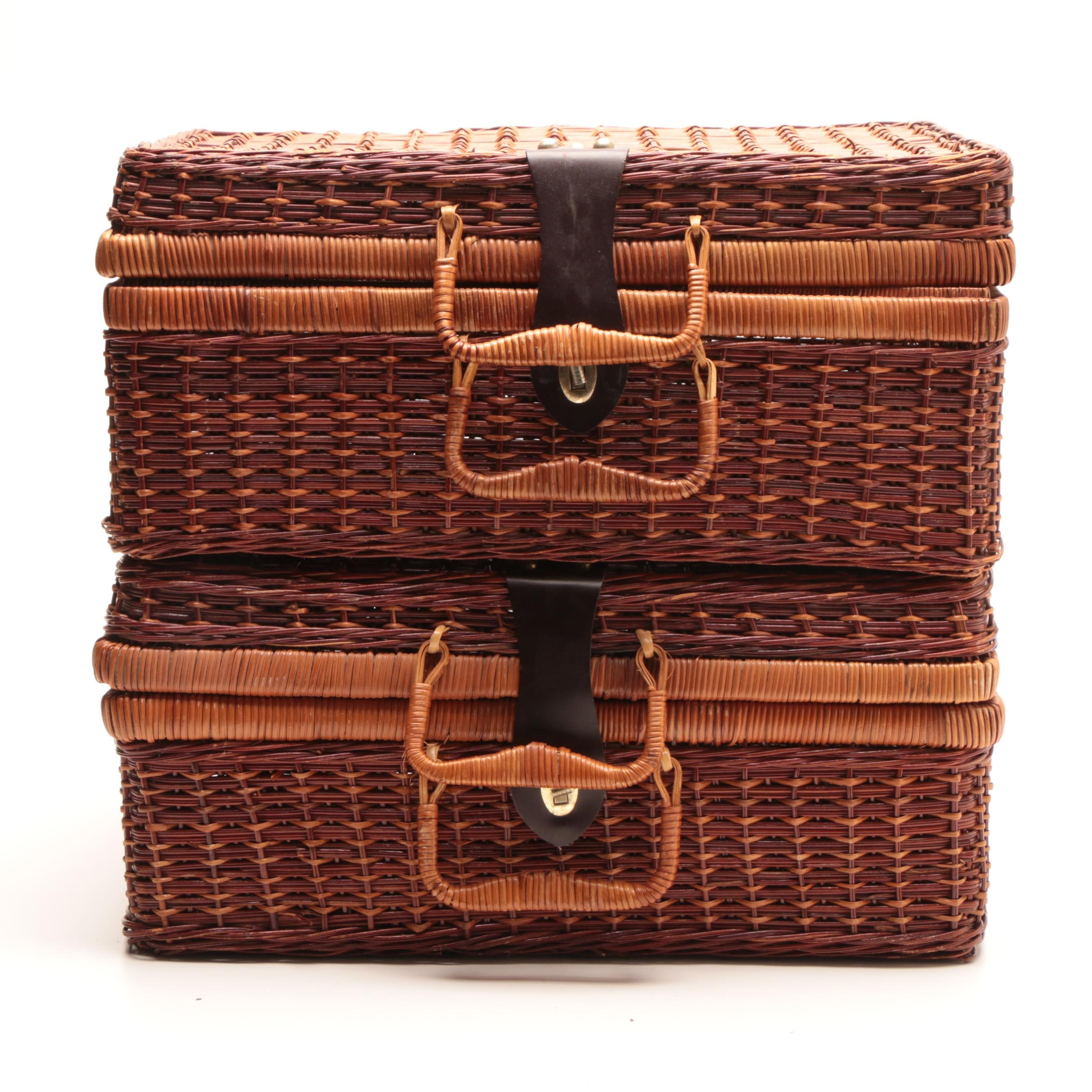 Trunk Style Woven Wooden Baskets with Handles