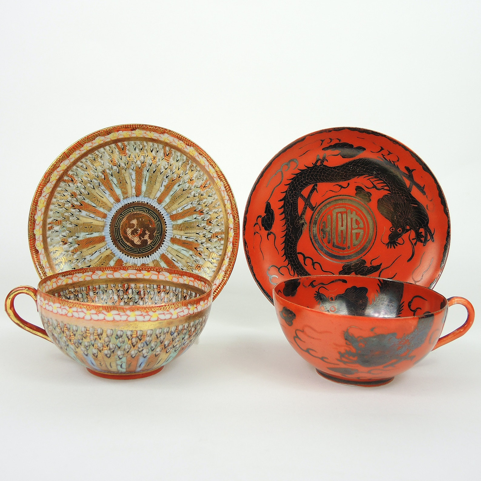 Antique Meiji Period Japanese Porcelain Teacups