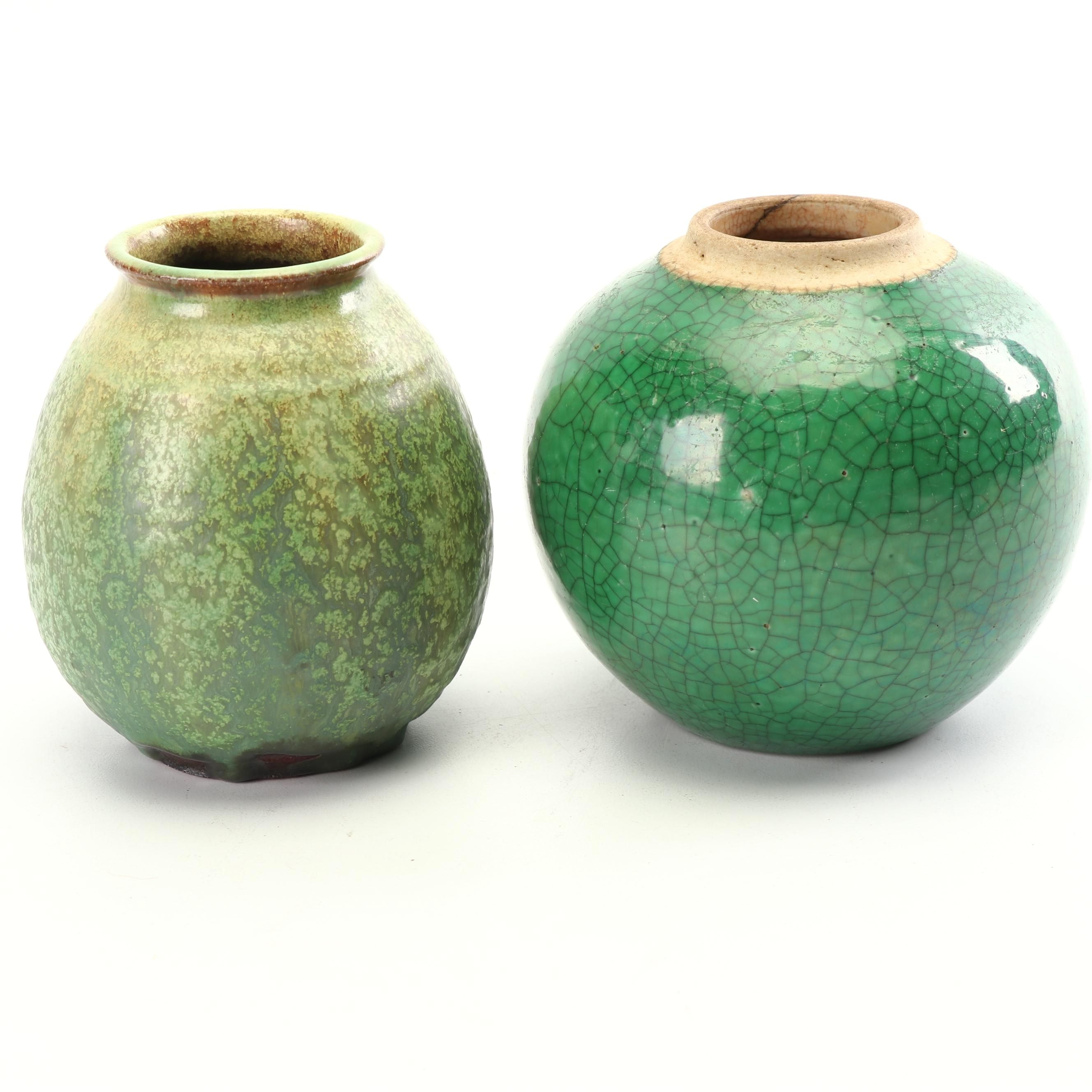 Vintage Venezuelan and Chinese Crackled Style Earthenware Vessels