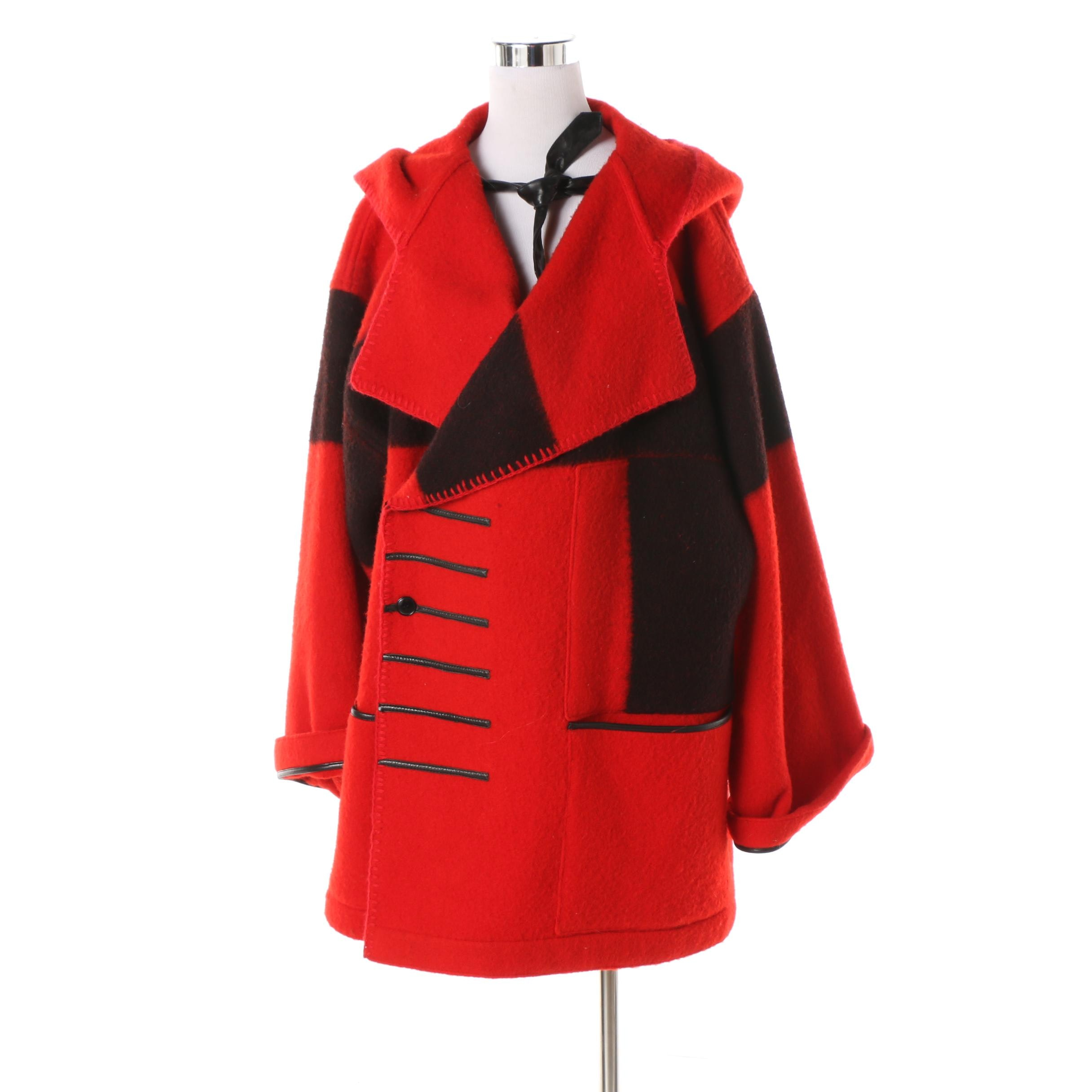 1980s Jean Charles de Castelbajac Black and Red Wool Colorblock Coat