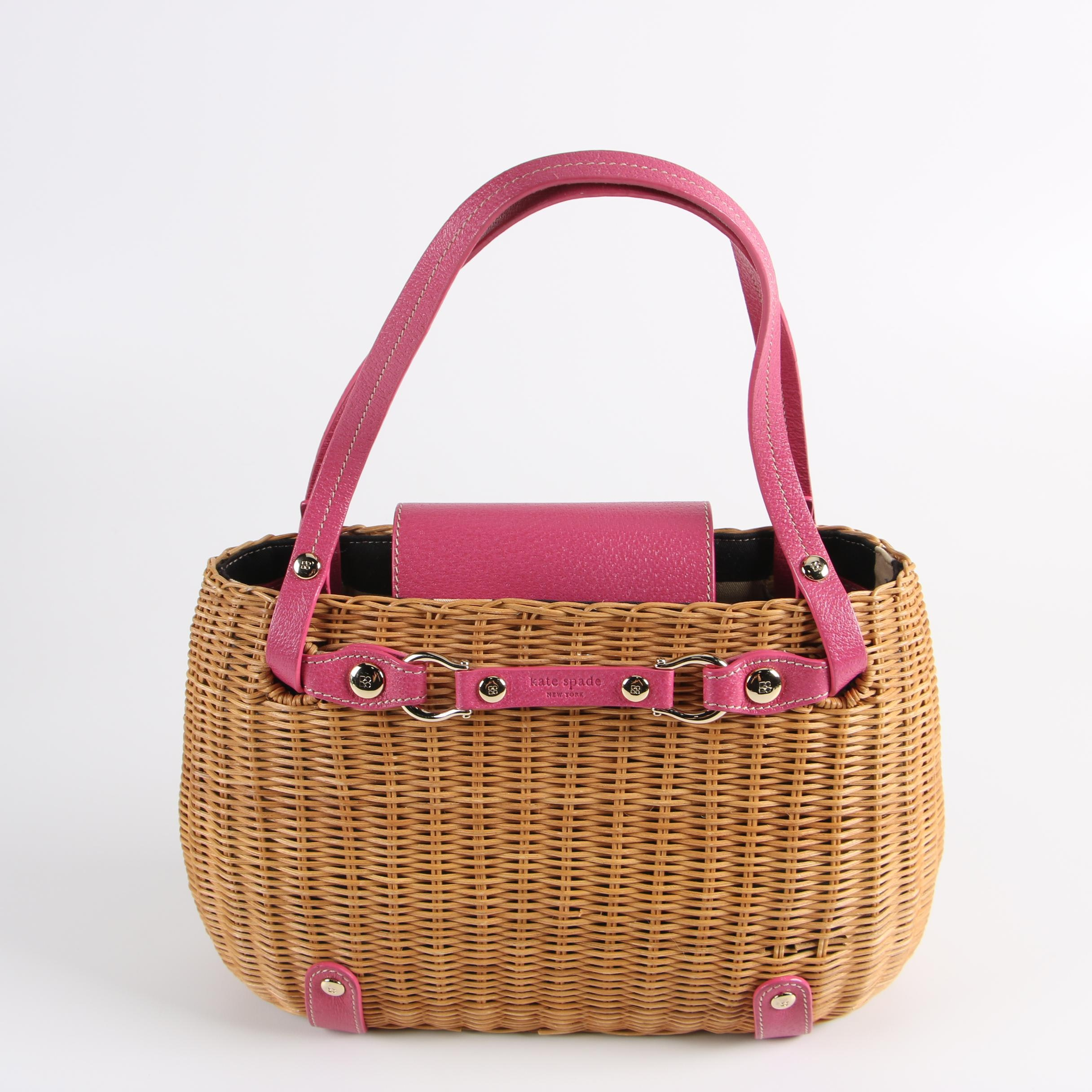 Kate Spade New York Woven Wicker and Fuchsia Leather Tote Shoulder Bag
