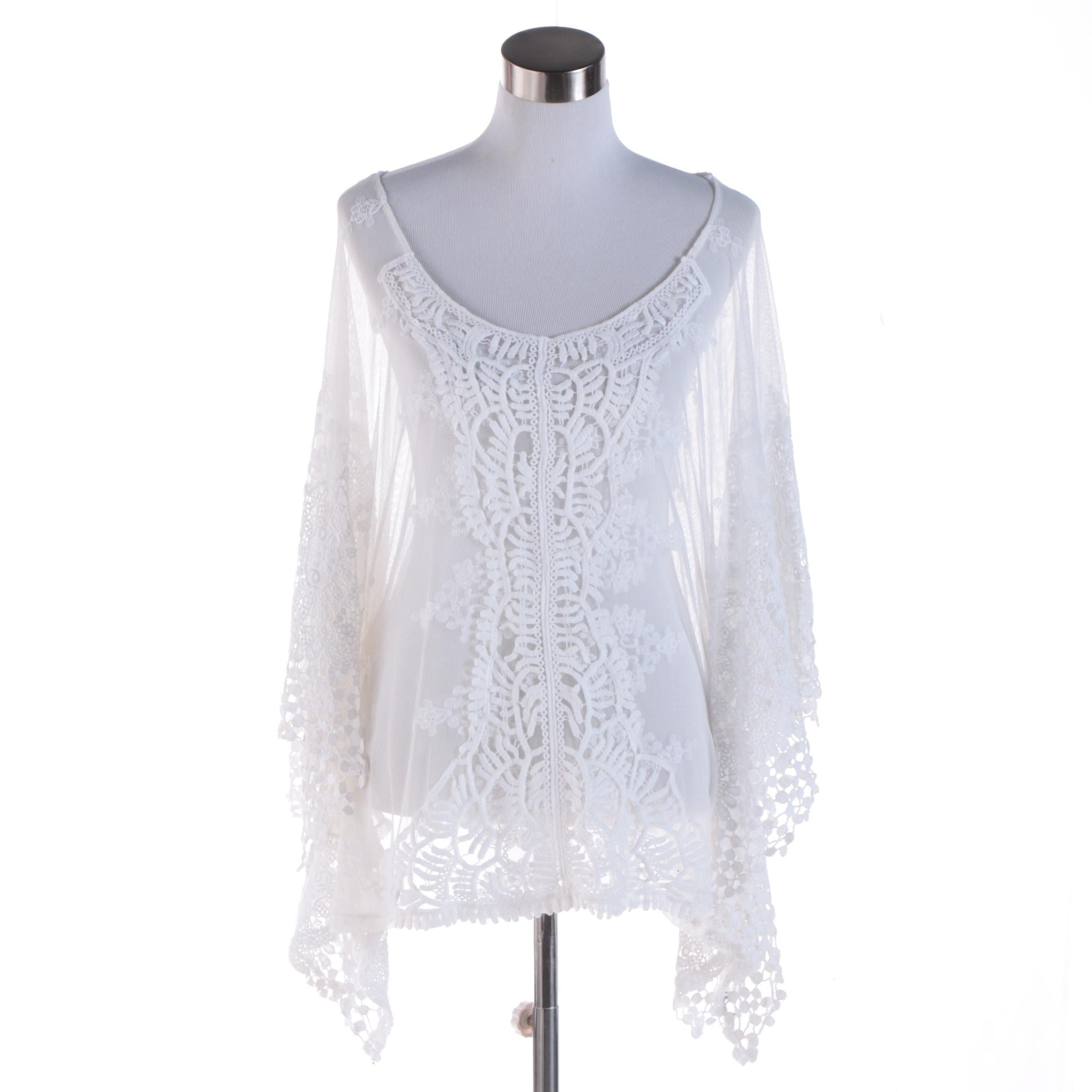 XCVI White Crochet Sheer Top